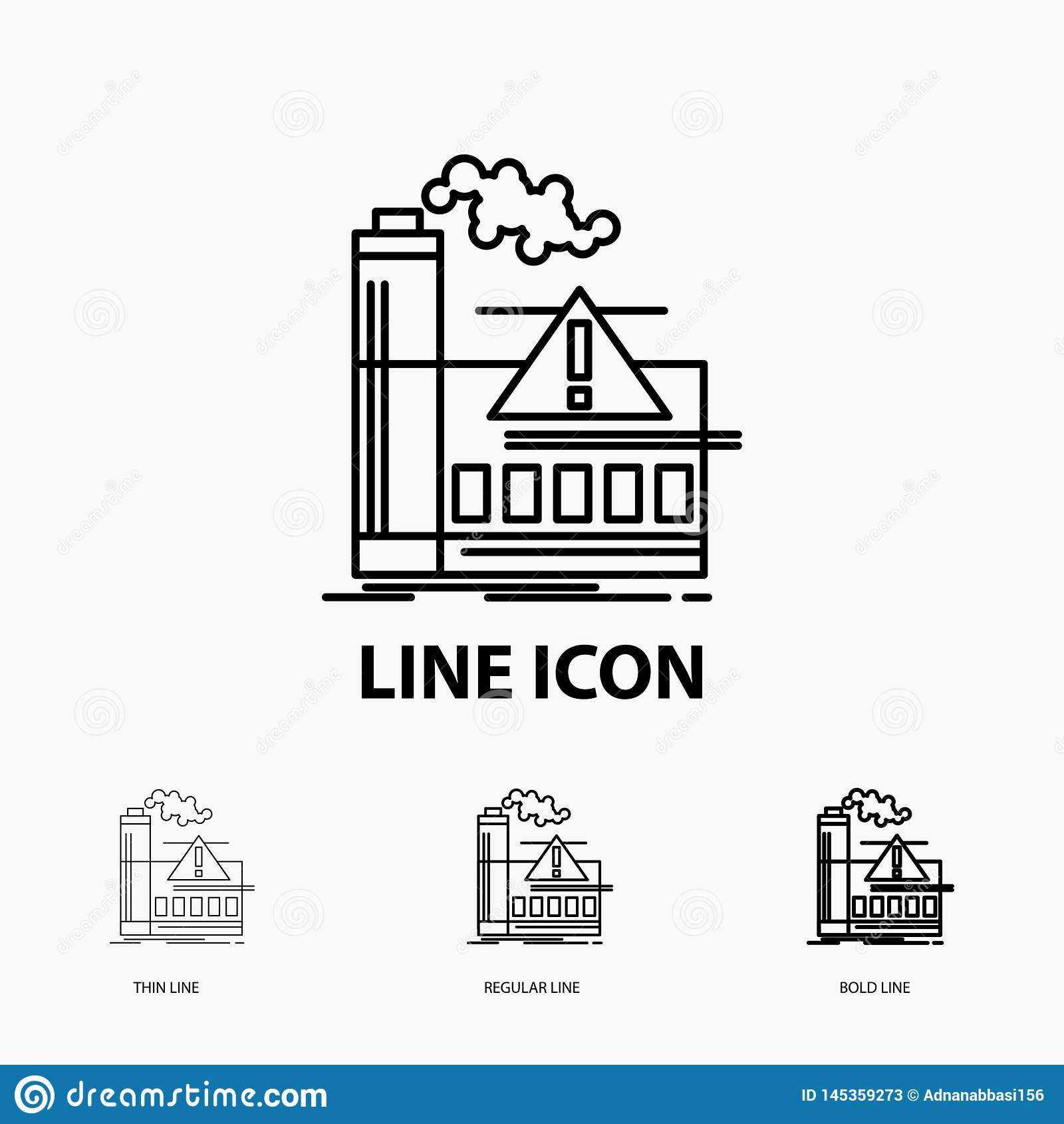 pollution, Factory, Air, Alert, industry Icon in Thin, Regular and Bold Line Style. Vector illustration