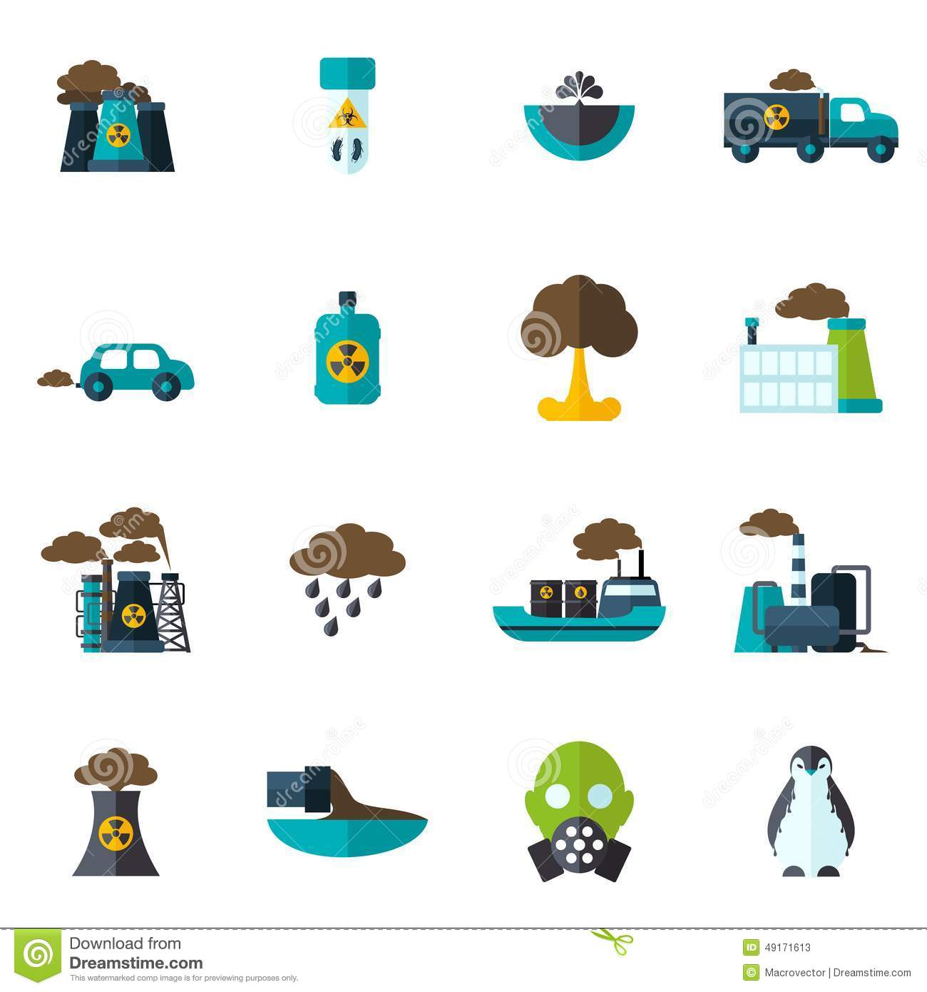 Pollution Icon Flat Stock Vector Illustration Of Plant