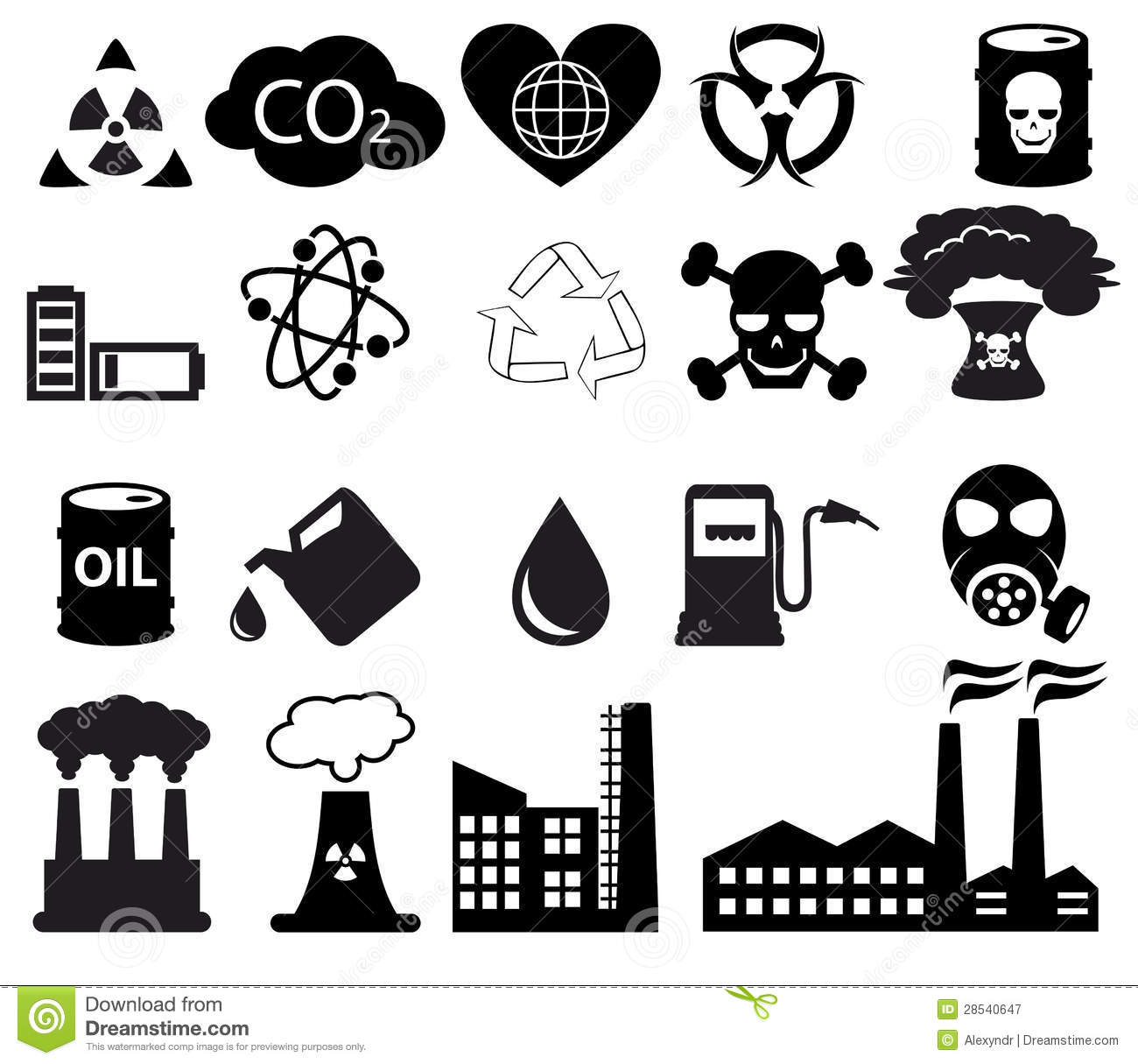 Pollution Icons Set Stock Vector Illustration Of