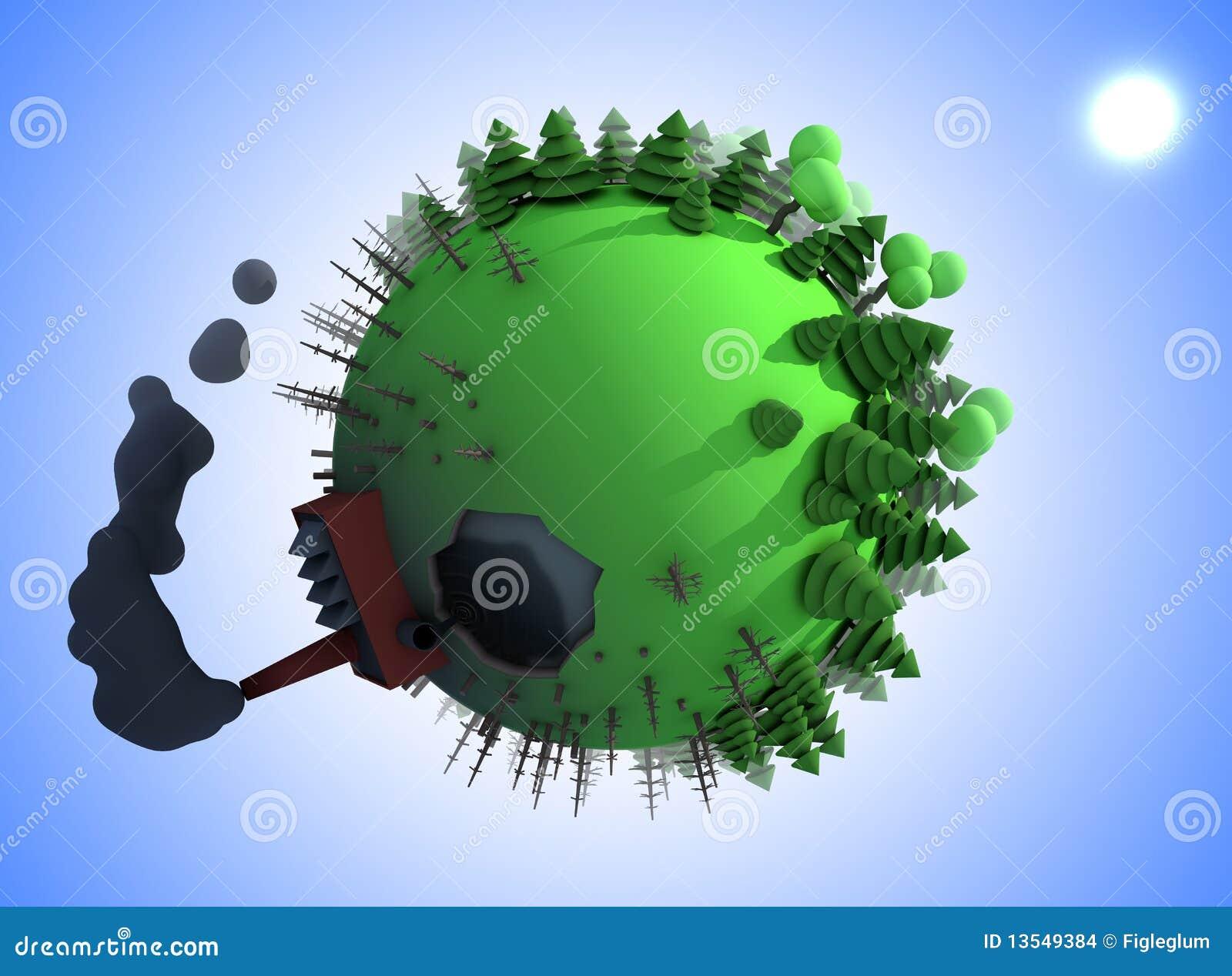 Pollution Sur La Planète De Dessin Animé Illustration Stock