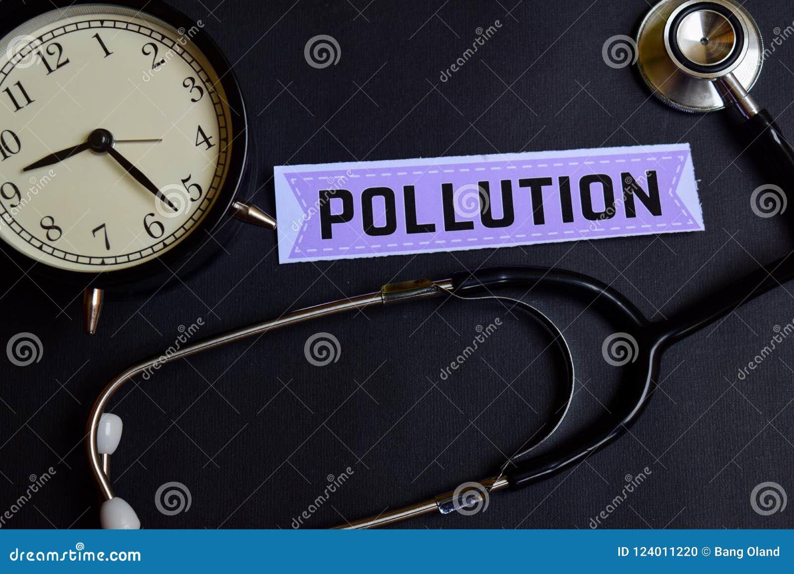 Pollution sur le papier avec l inspiration de concept de soins de santé réveil, stéthoscope noir
