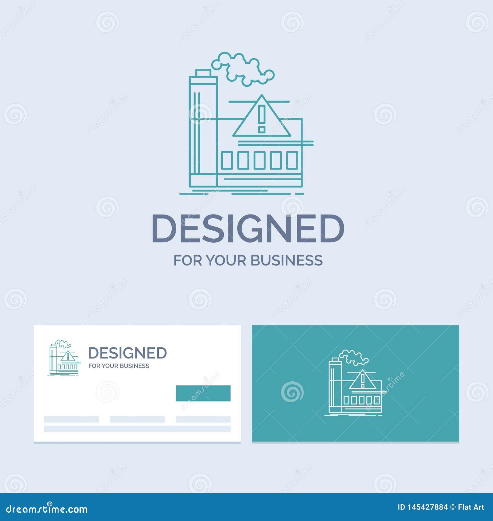 Pollution, usine, air, alerte, affaires Logo Line Icon Symbol d industrie pour vos affaires Cartes de visite professionnelle de v