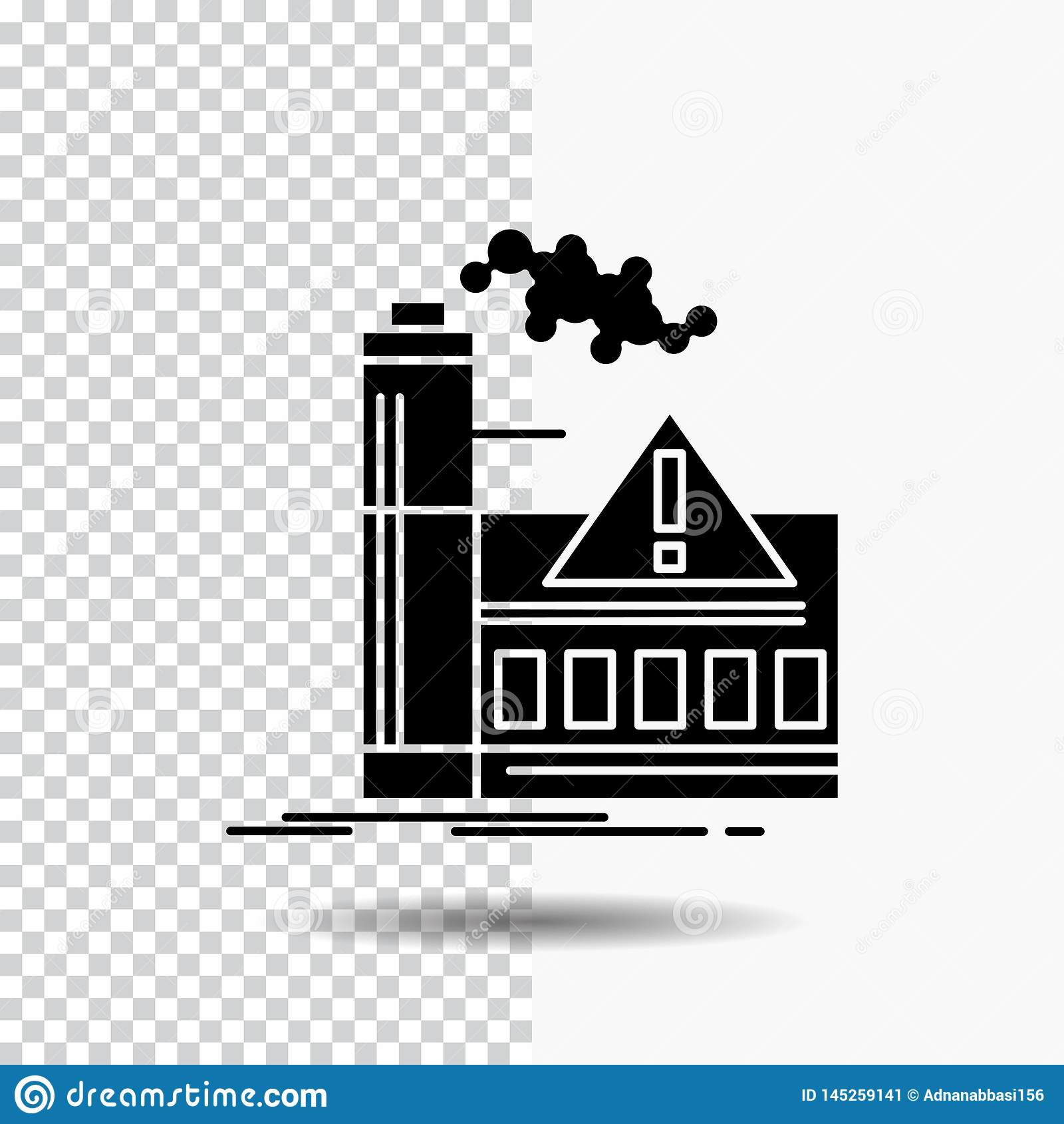 Pollution, usine, air, alerte, icône de Glyph d industrie sur le fond transparent Ic?ne noire