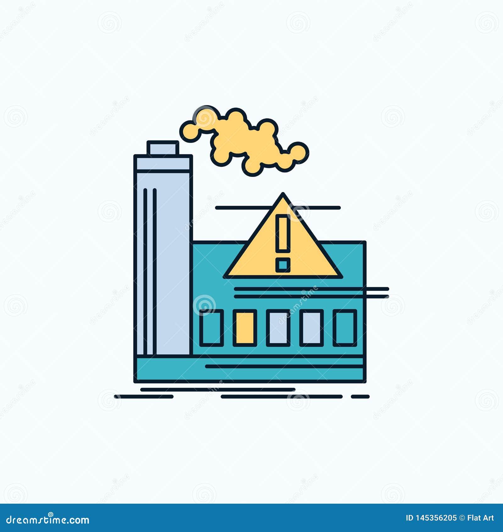Pollution, usine, air, alerte, icône plate d industrie signe et symboles verts et jaunes pour le site Web et l appliation mobile