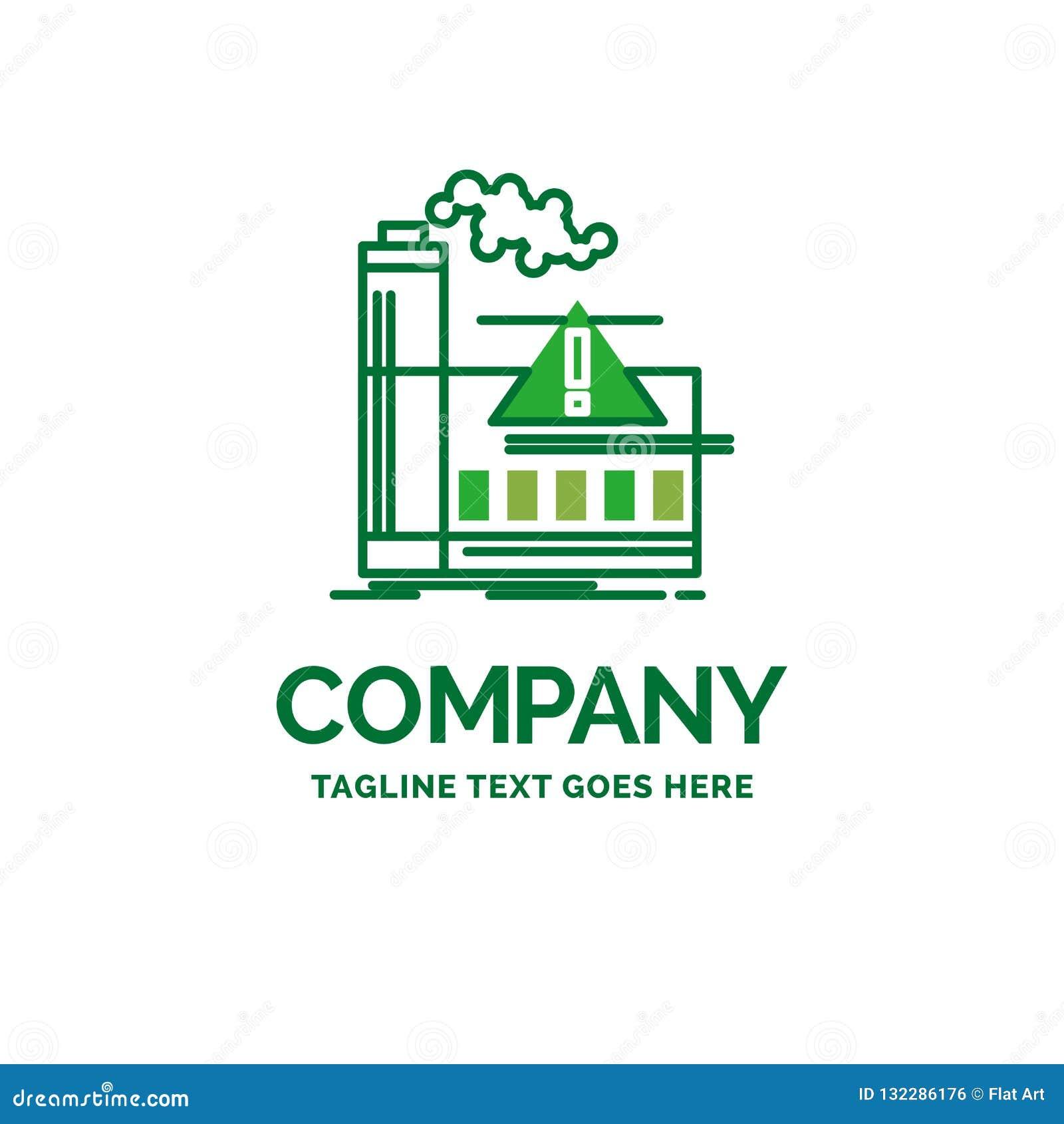 Pollution, usine, air, alerte, temp plat de logo d affaires d industrie