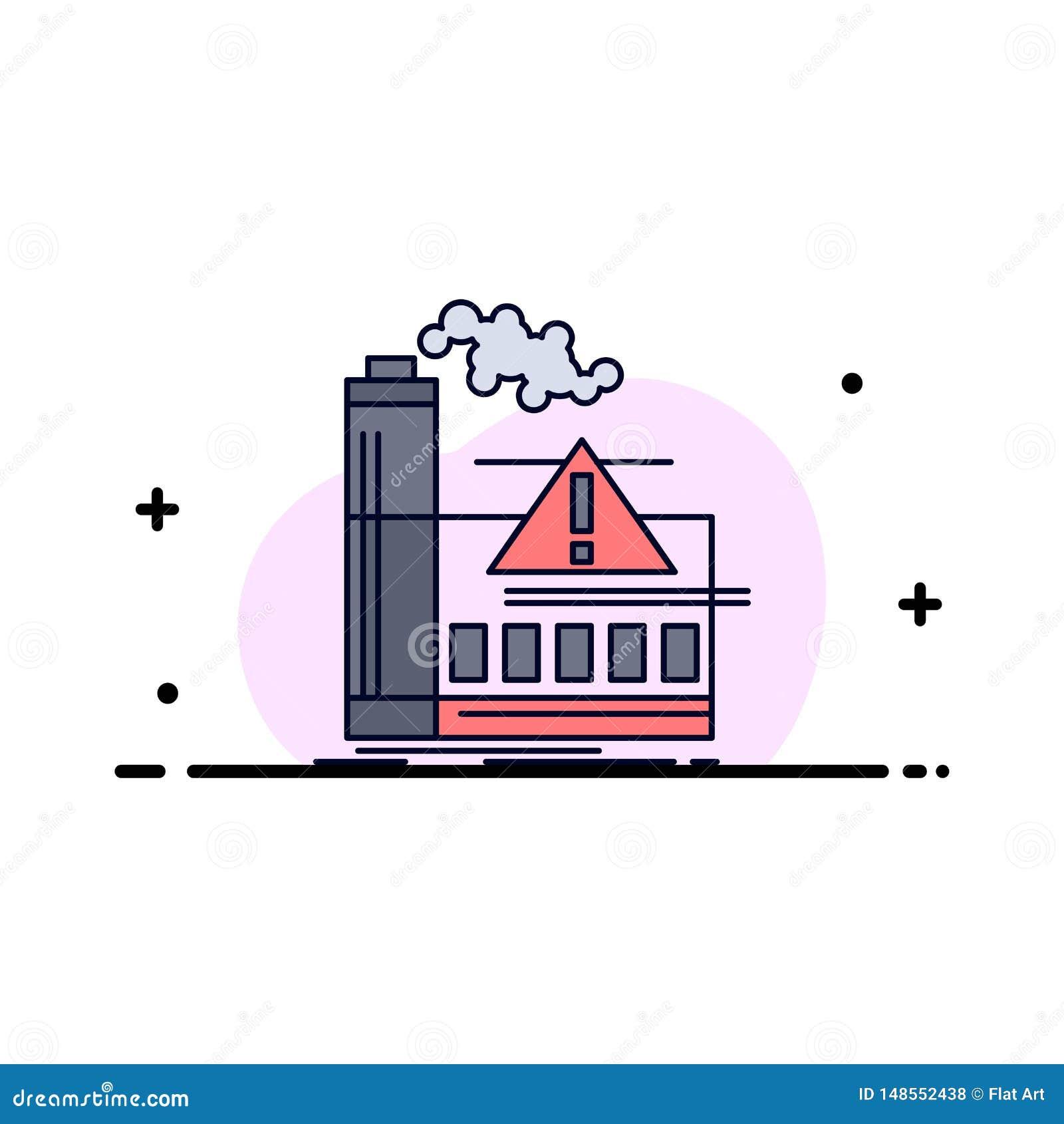 Pollution, usine, air, alerte, vecteur plat d icône de couleur d industrie