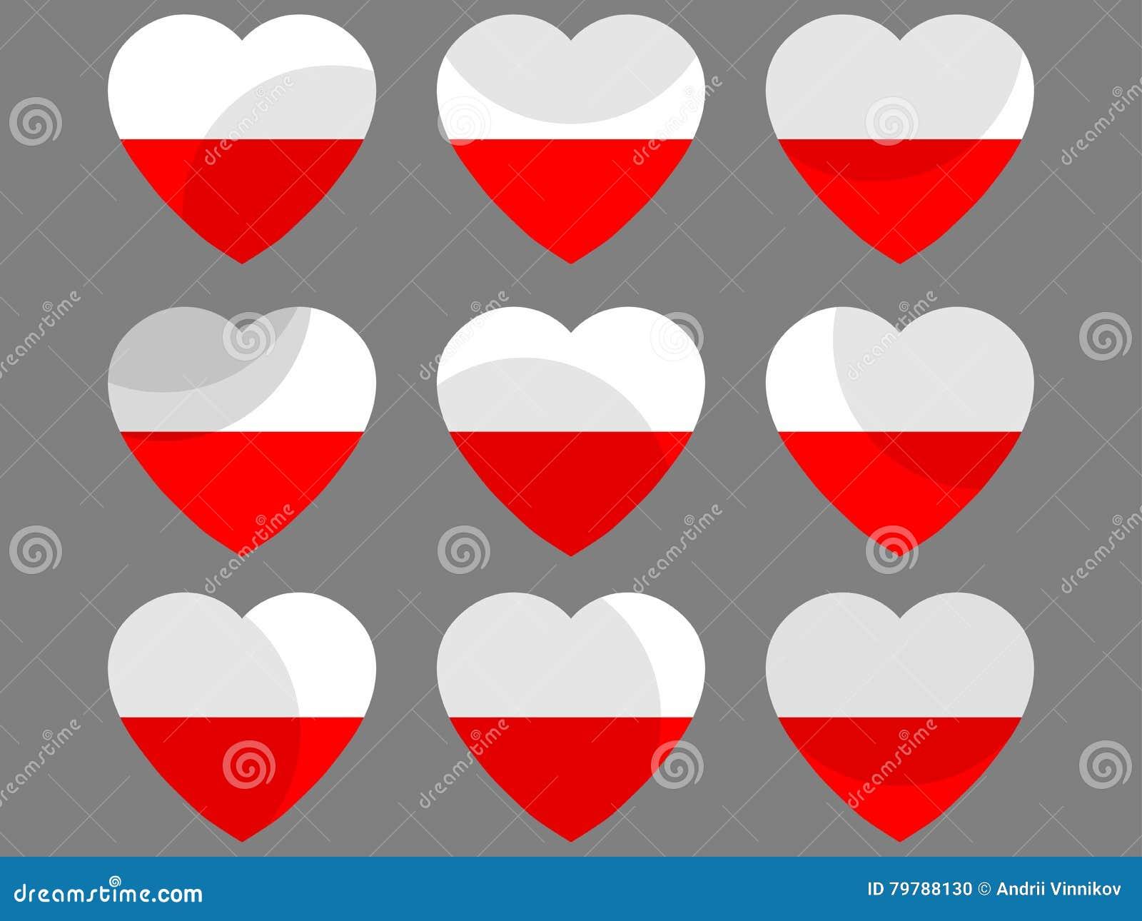 Polnische Flagge Im Herzen Sammlung Herzen Mit Der