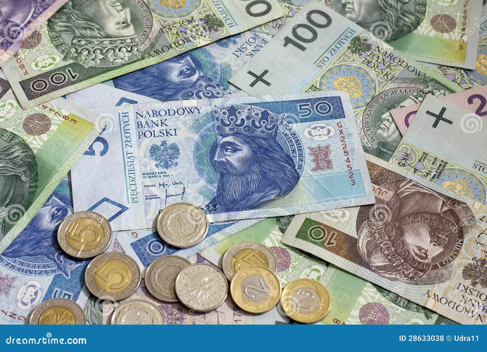 Polnische Geldmünzen Und Banknoten Stockfoto Bild Von Polen