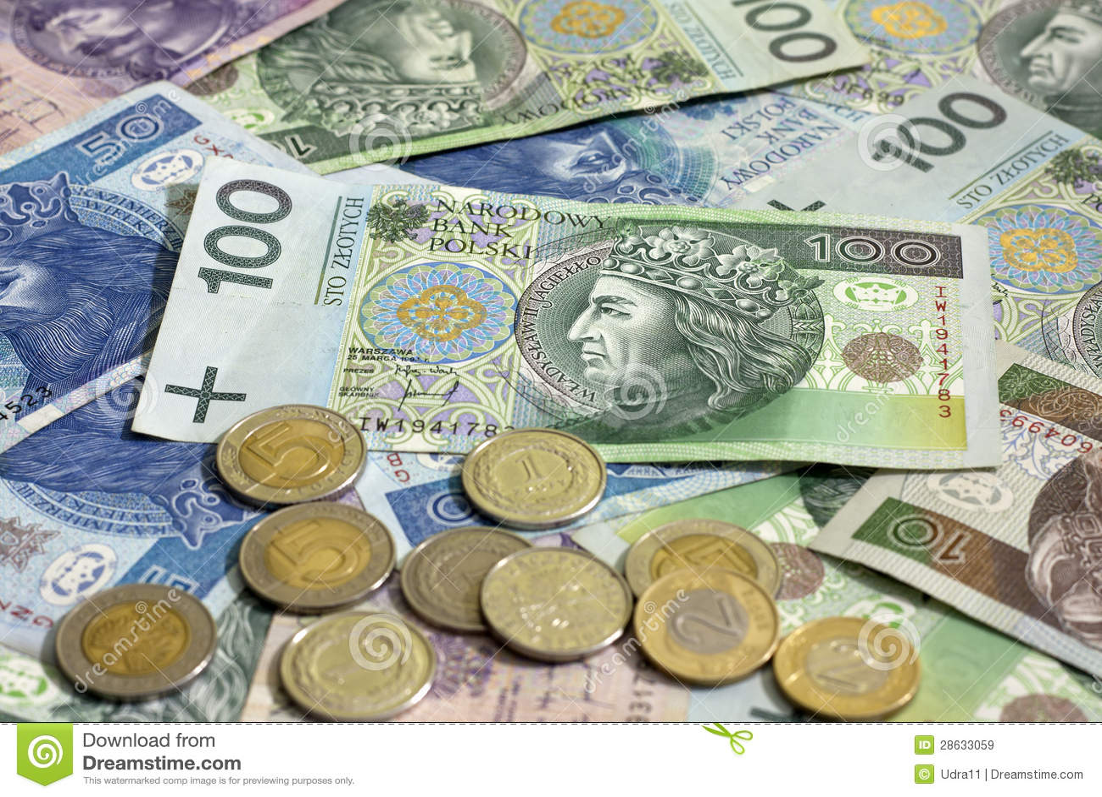 Polnische Geldmünzen Und Banknoten Stockbild Bild Von Schuld