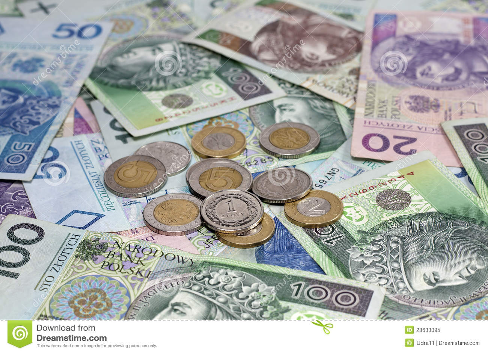 Polnische Geldmünzen Und Banknoten Stockbild Bild Von Krise