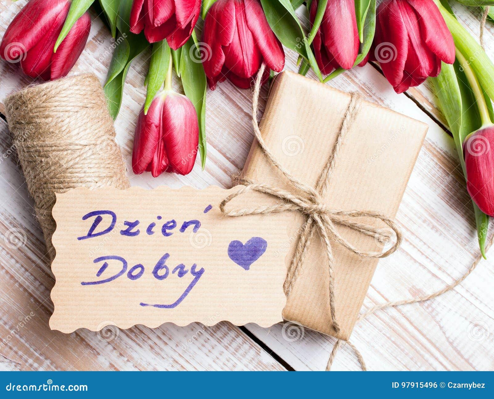 Polnisches Fasst Guten Morgen Und Blumenstrauß Von Tulpen Ab