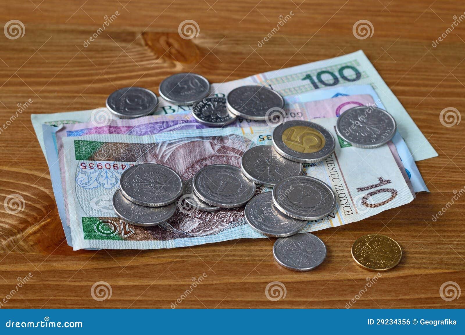 Polnisches Geld Das Auf Eine Tabelle Legt Pln Banknoten Und Münzen