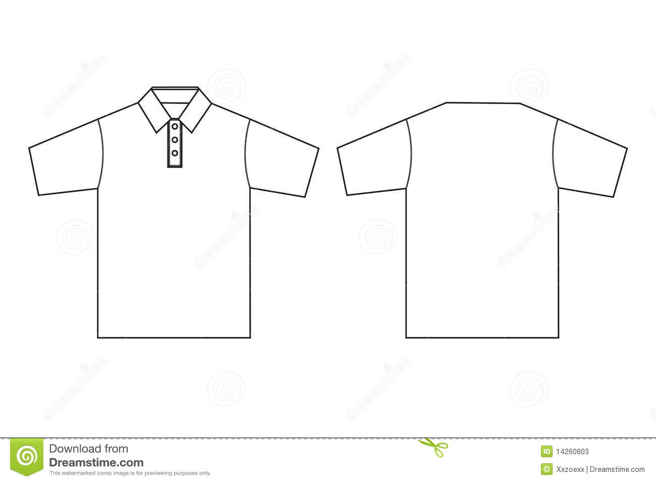 polo clothing template outline stock photos