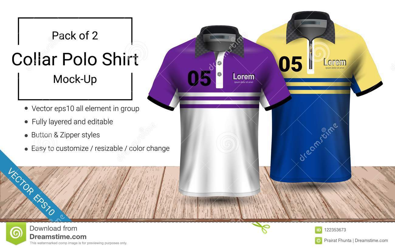 Polo Collar T Shirt Template Vector Eps10 File Fully Layered And