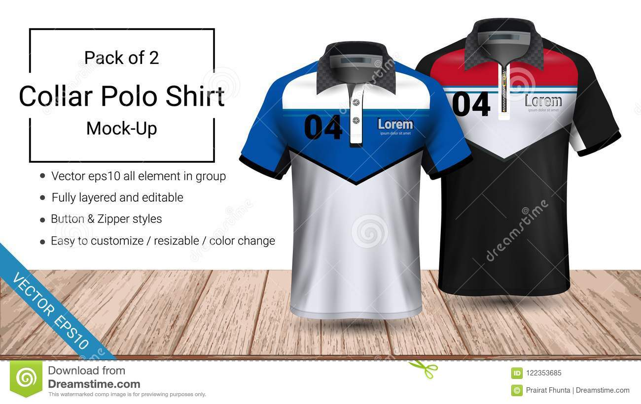 Polo collar t-shirt template, Vector eps10 file fully layered and editable prepared to showcase the custom design