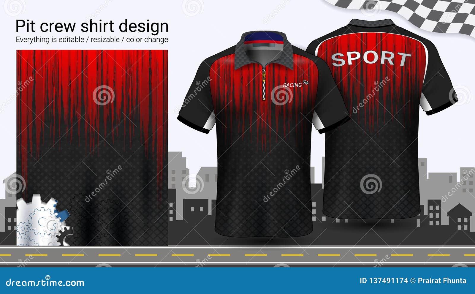 Polo koszulka z suwaczkiem, Ściga się munduru mockup szablon dla Aktywnej odzieży i sportów odziewać