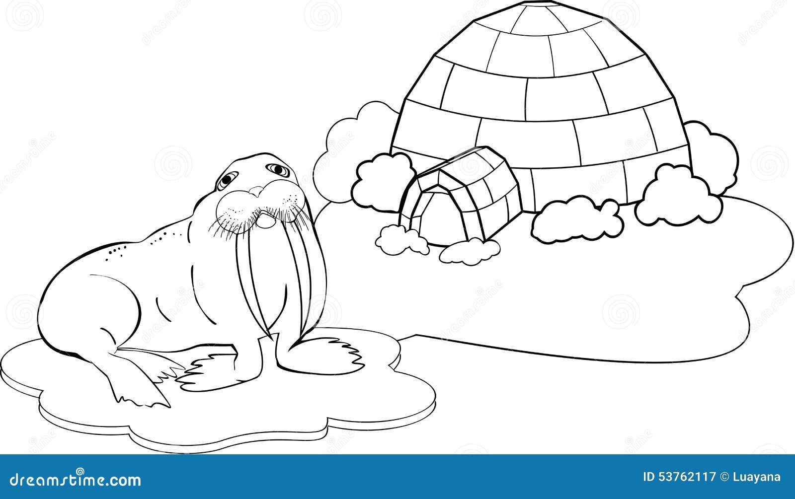 Polo Norte que colorea ilustración del vector. Ilustración de ...