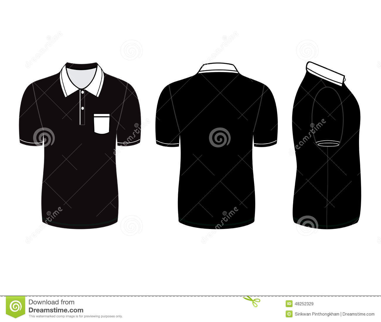 Polo Shirt Design Templates Front Back And Side Views Stock - Design a shirt template