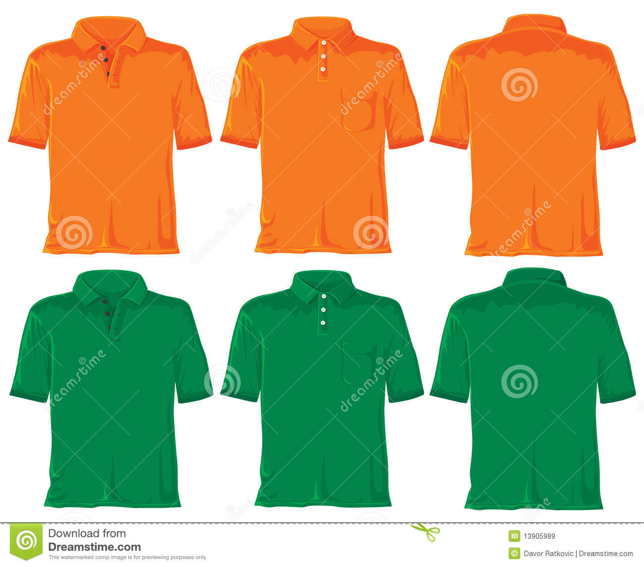 Polo shirt set orange green royalty free stock images for Polo shirts without buttons