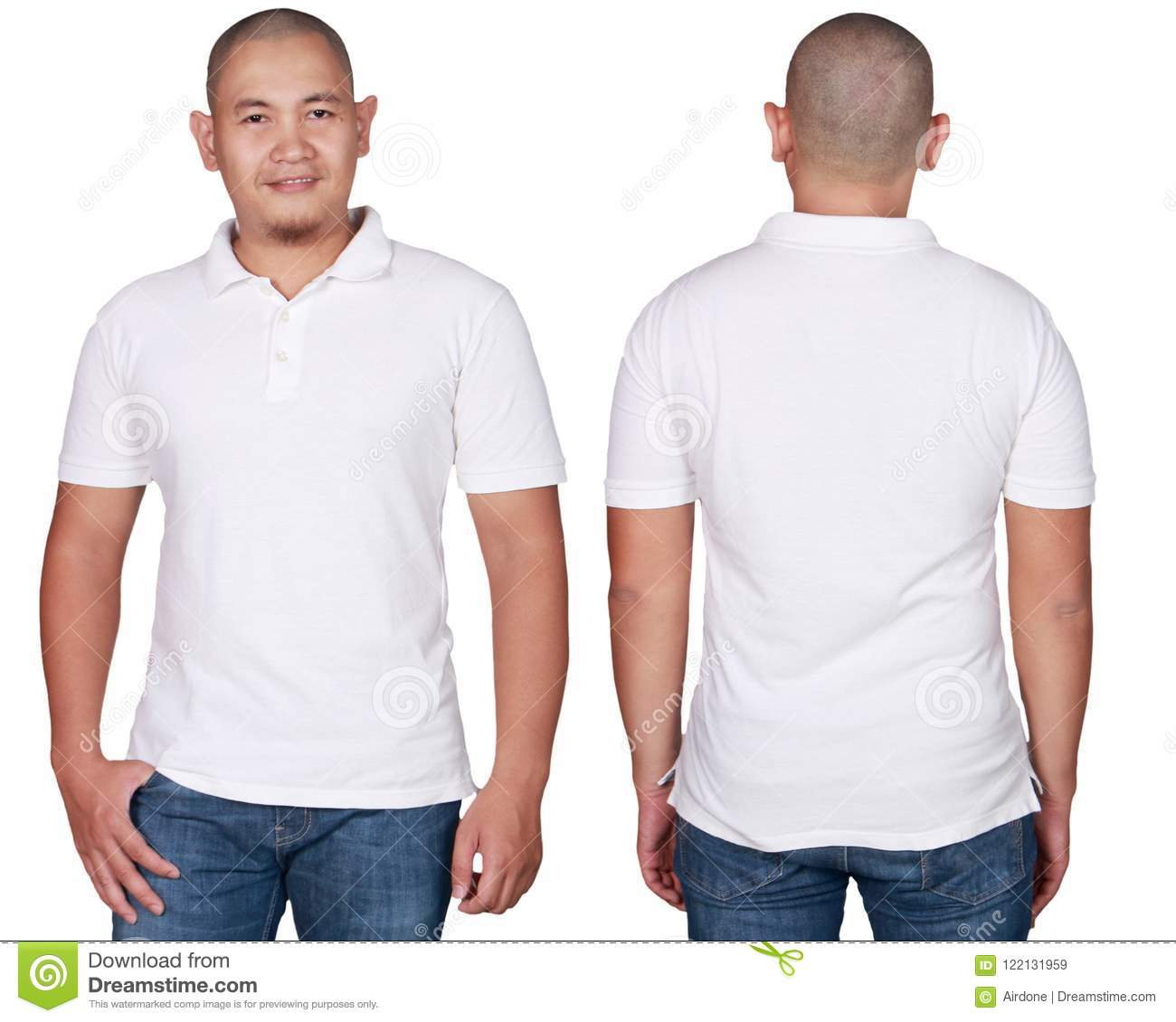b3ce06500 White polo t-shirt mock up, front and back view, isolated. Male model wear  plain white shirt mockup. Polo shirt design template. Blank tees for print