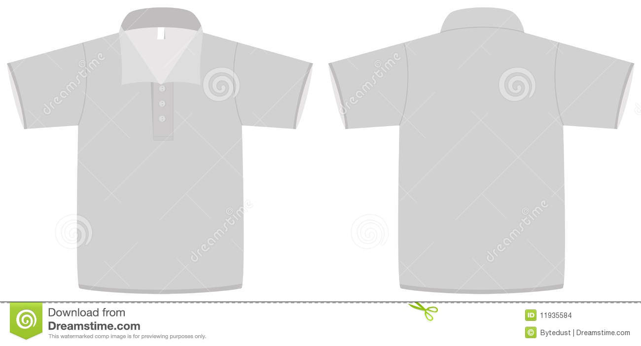 Template illustration of a blank polo shirt with collar. All objects