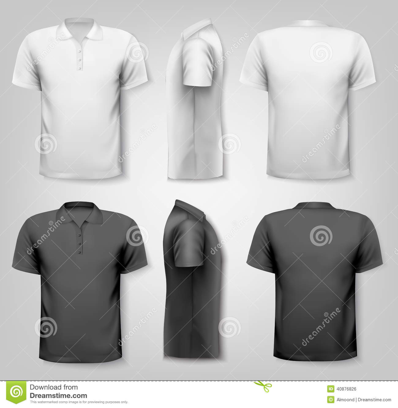 Polo shirts with sample text space.