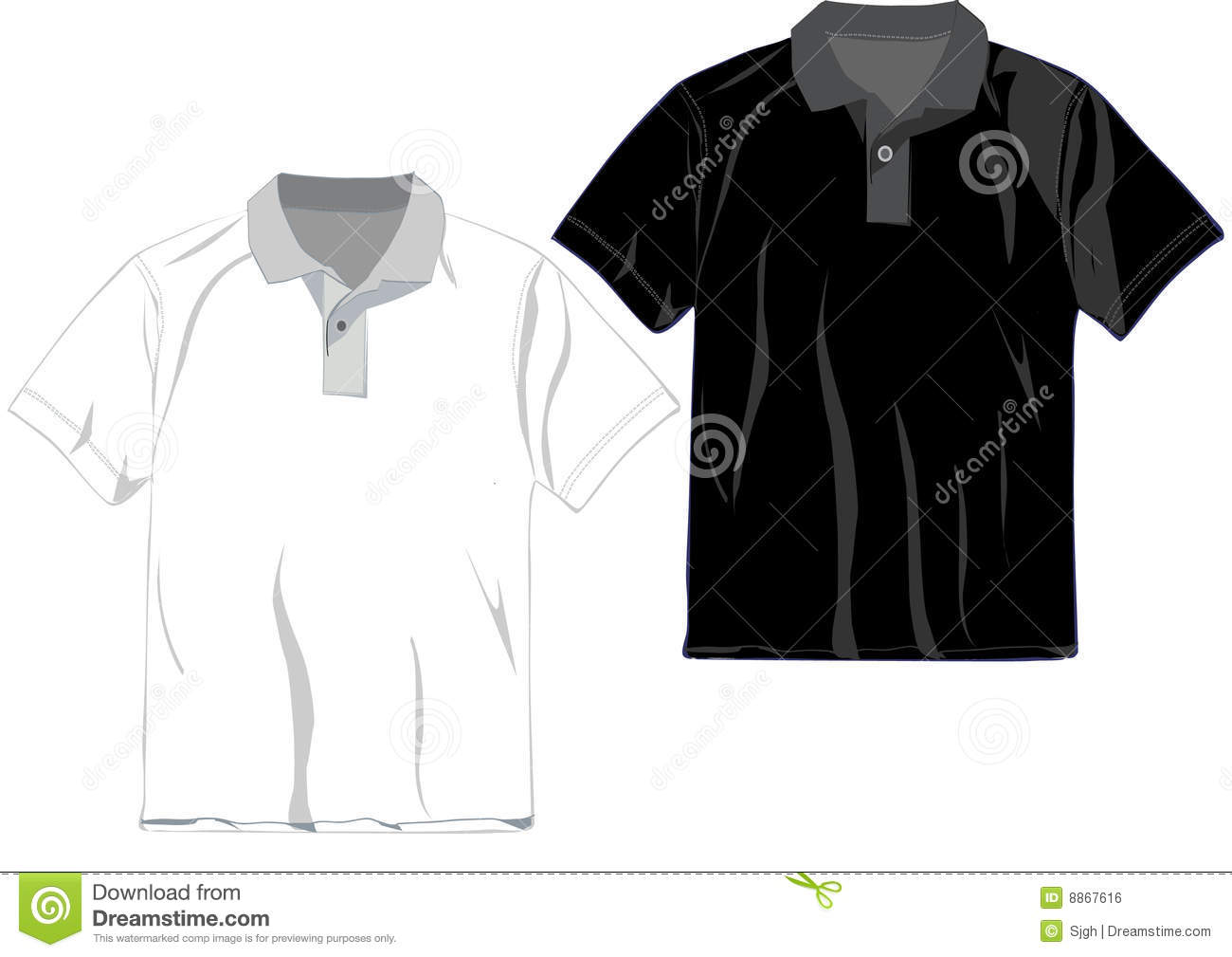 Vector vector t shirt design template black white and gray for Polo t shirt design online