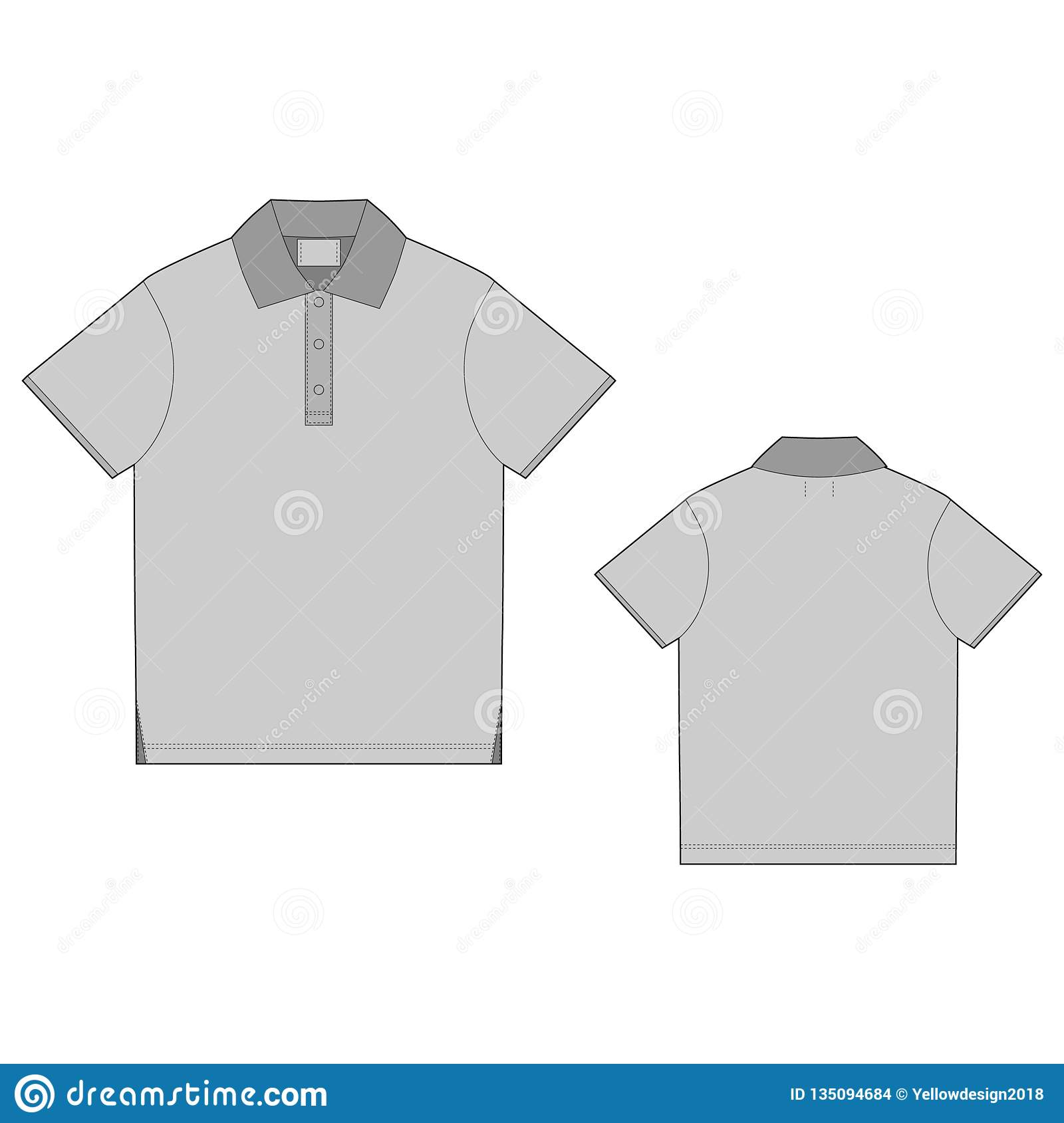 fd8b4bf3ecf3b Polo t-shirt design template. Front and back . Technical sketch unisex t  shirt