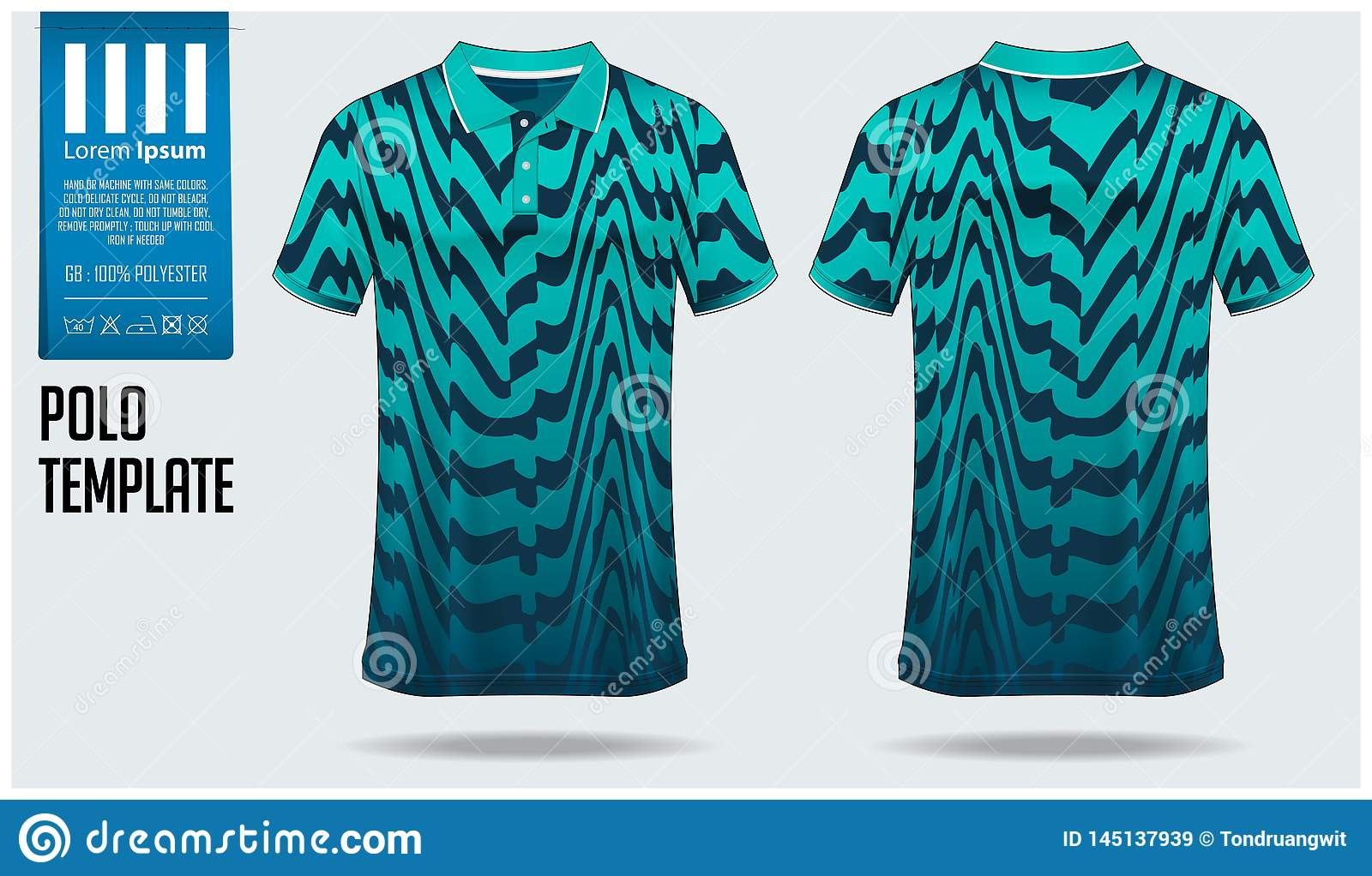 a1391be5f Polo t-shirt mockup template design for soccer jersey, football kit or  sportswear.
