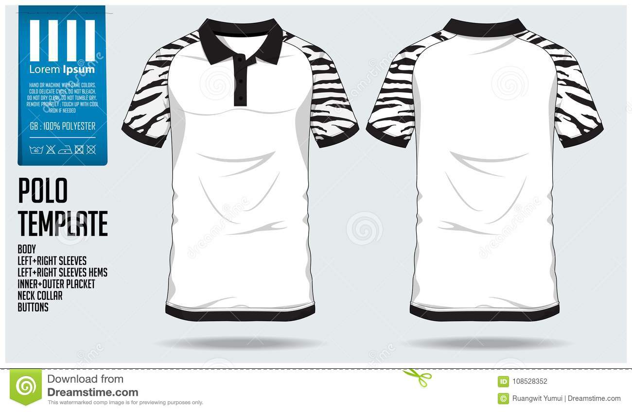 Polo t shirt sport design template for soccer jersey, football kit or sport club. Sport uniform in front view and back view.