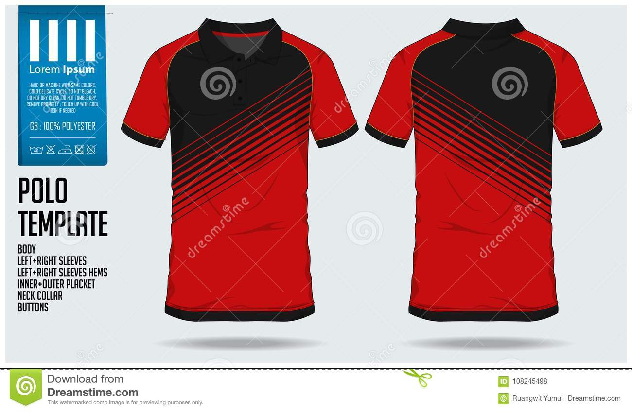 30eb70a11 Polo t shirt sport design template for soccer jersey, football kit or sport  club. Sport uniform in front view and back view.