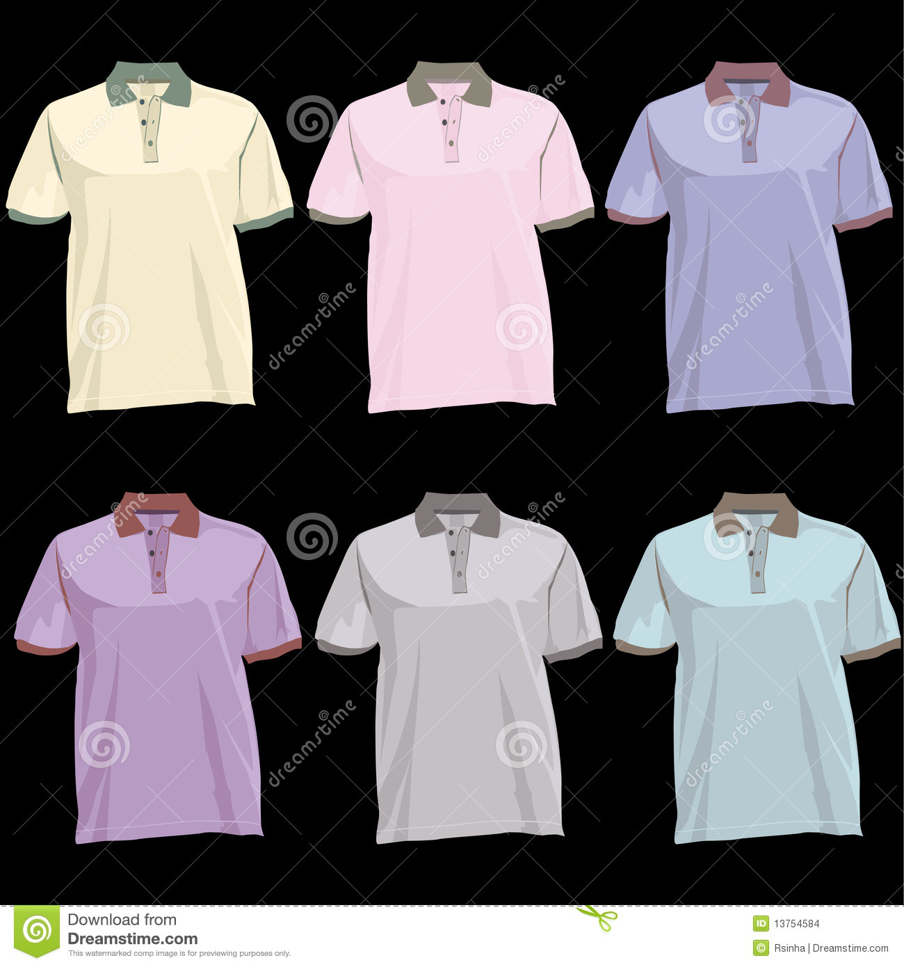 Polo t shirt template with collar front and back stock for Collar shirt design template