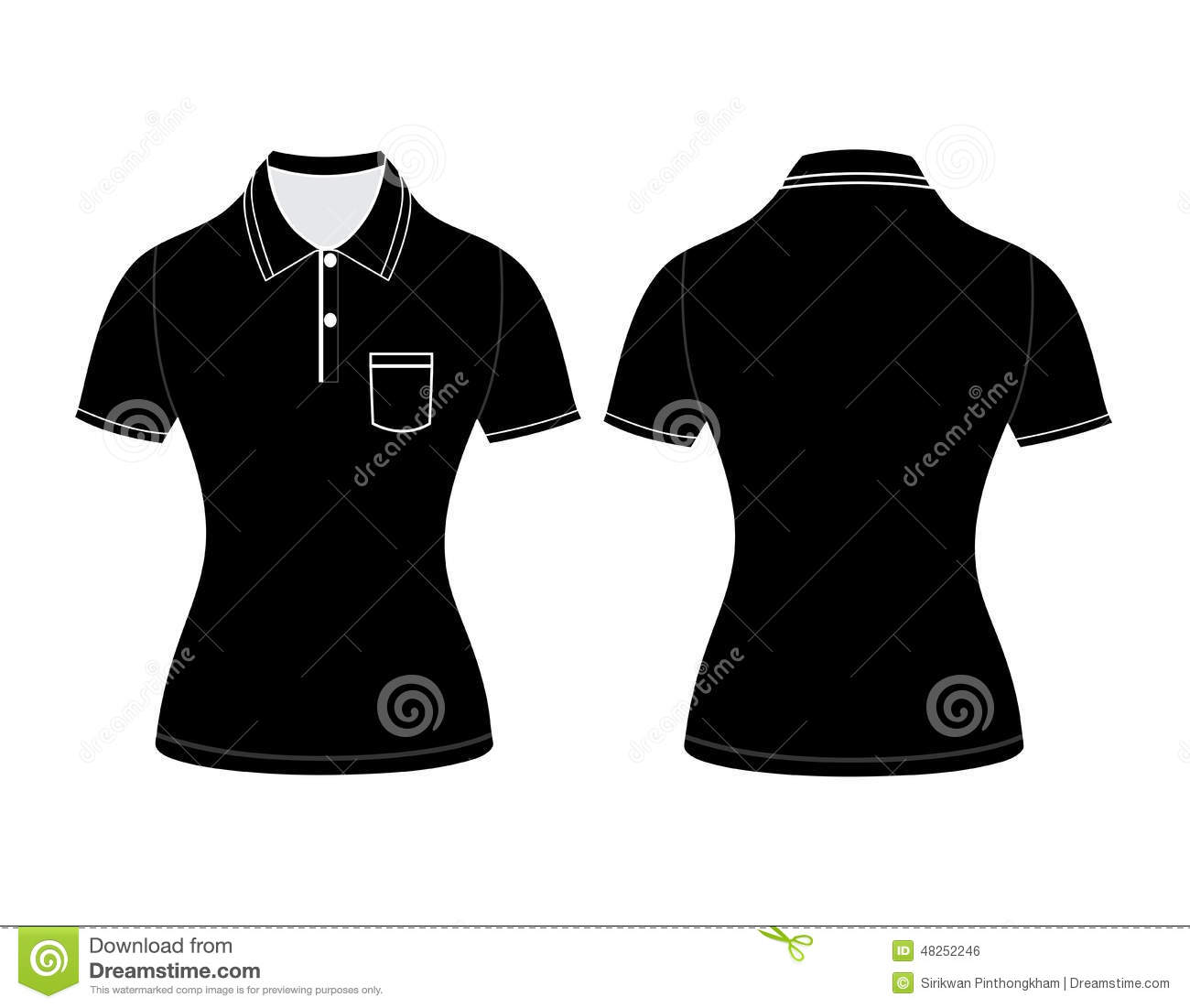 Polo Woman Shirt Design Templates Front And Back Views Stock