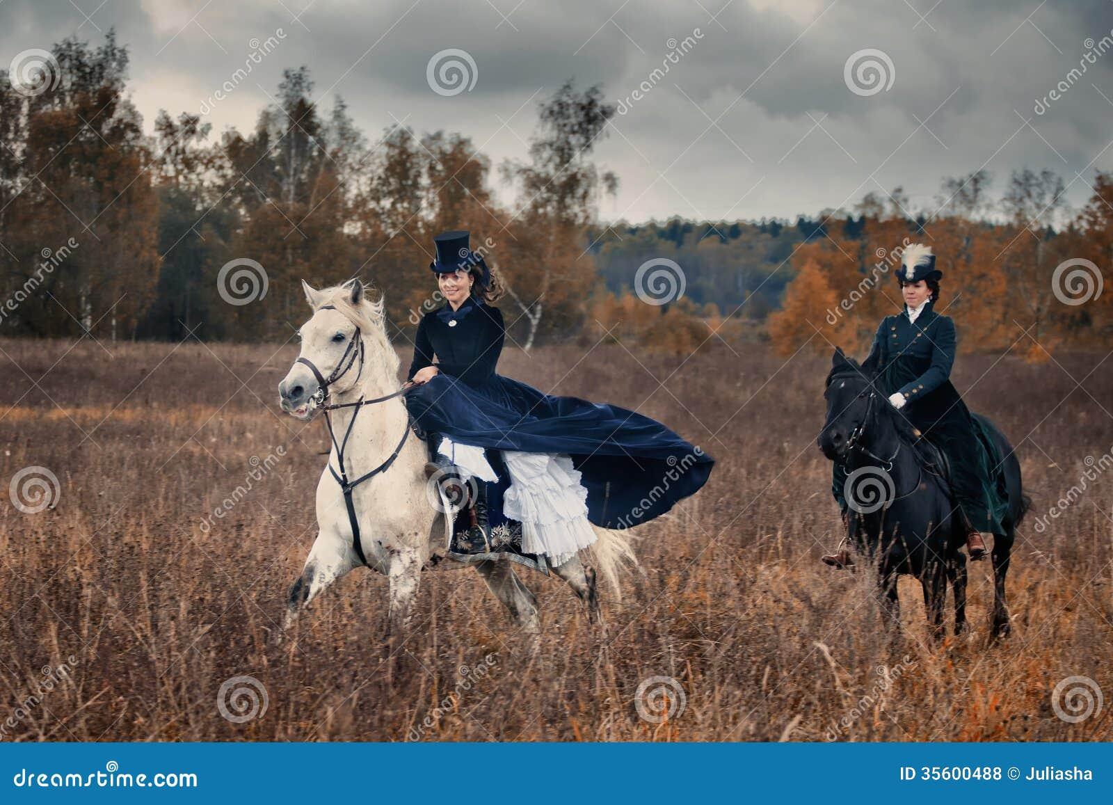 Polowanie z damami w jeździeckim przyzwyczajeniu
