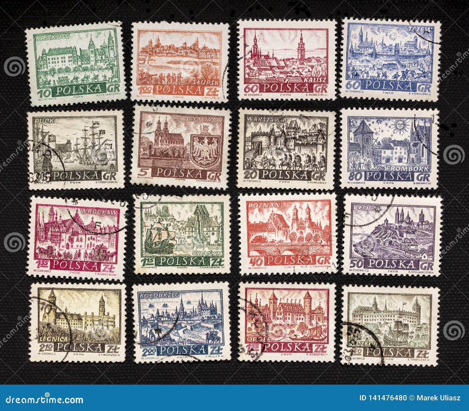Polscy miasta na rocznik poczty znaczkach