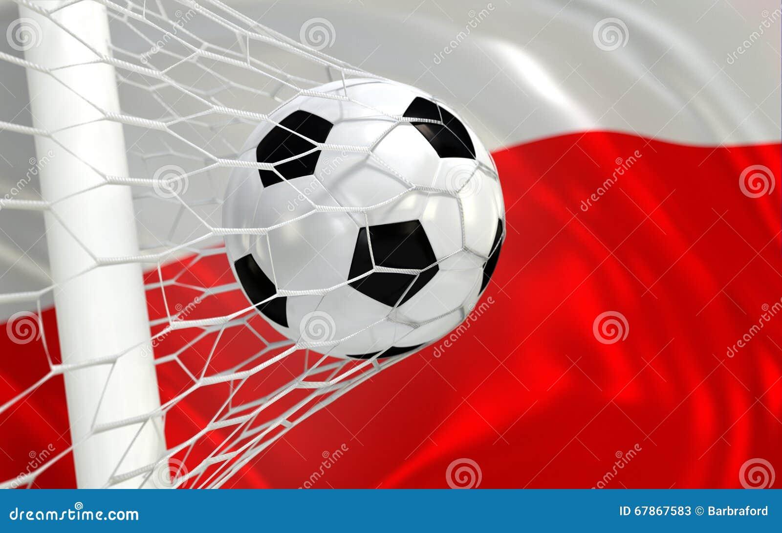 Polska falowania flaga i piłki nożnej piłka w celu zarabiamy netto