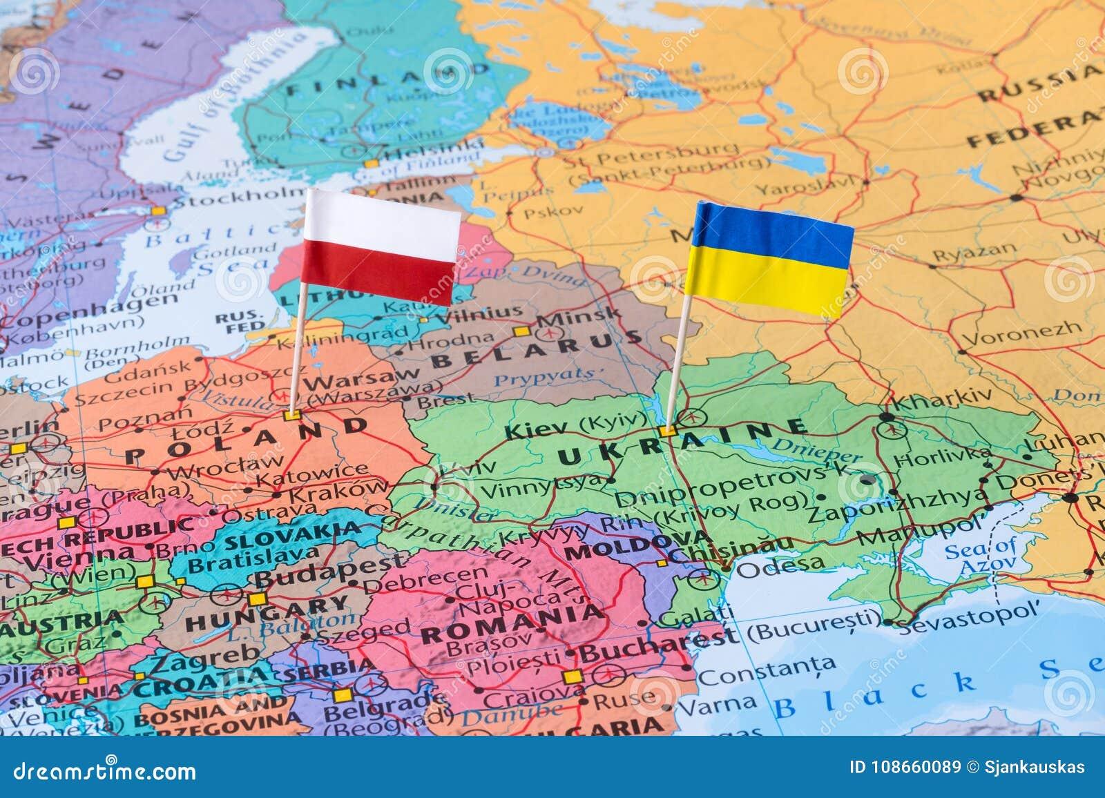 Polska I Ukraina Mapa Z Choragwianymi Szpilkami Stosunek