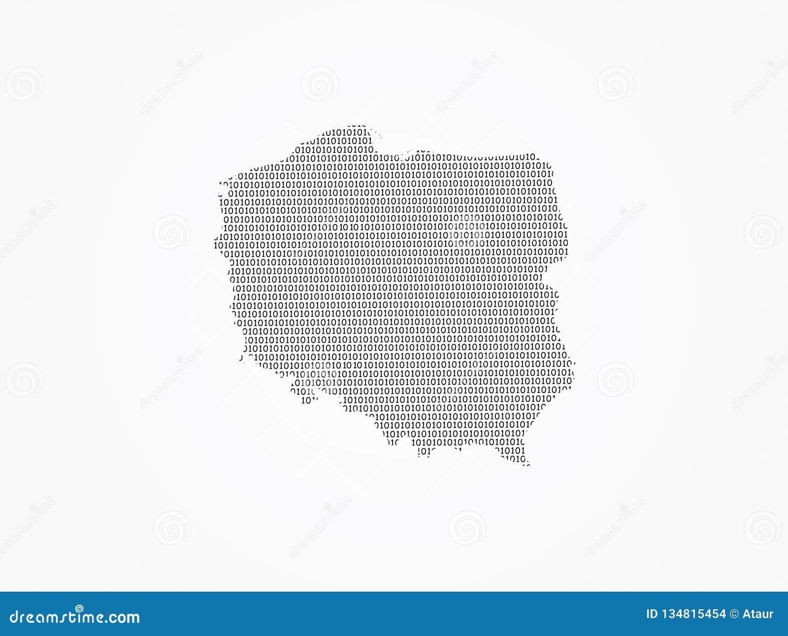 Polska mapy wektorowa ilustracja używać binarne cyfry lub liczby na lekkim tle znaczyć cyfrowego kraju