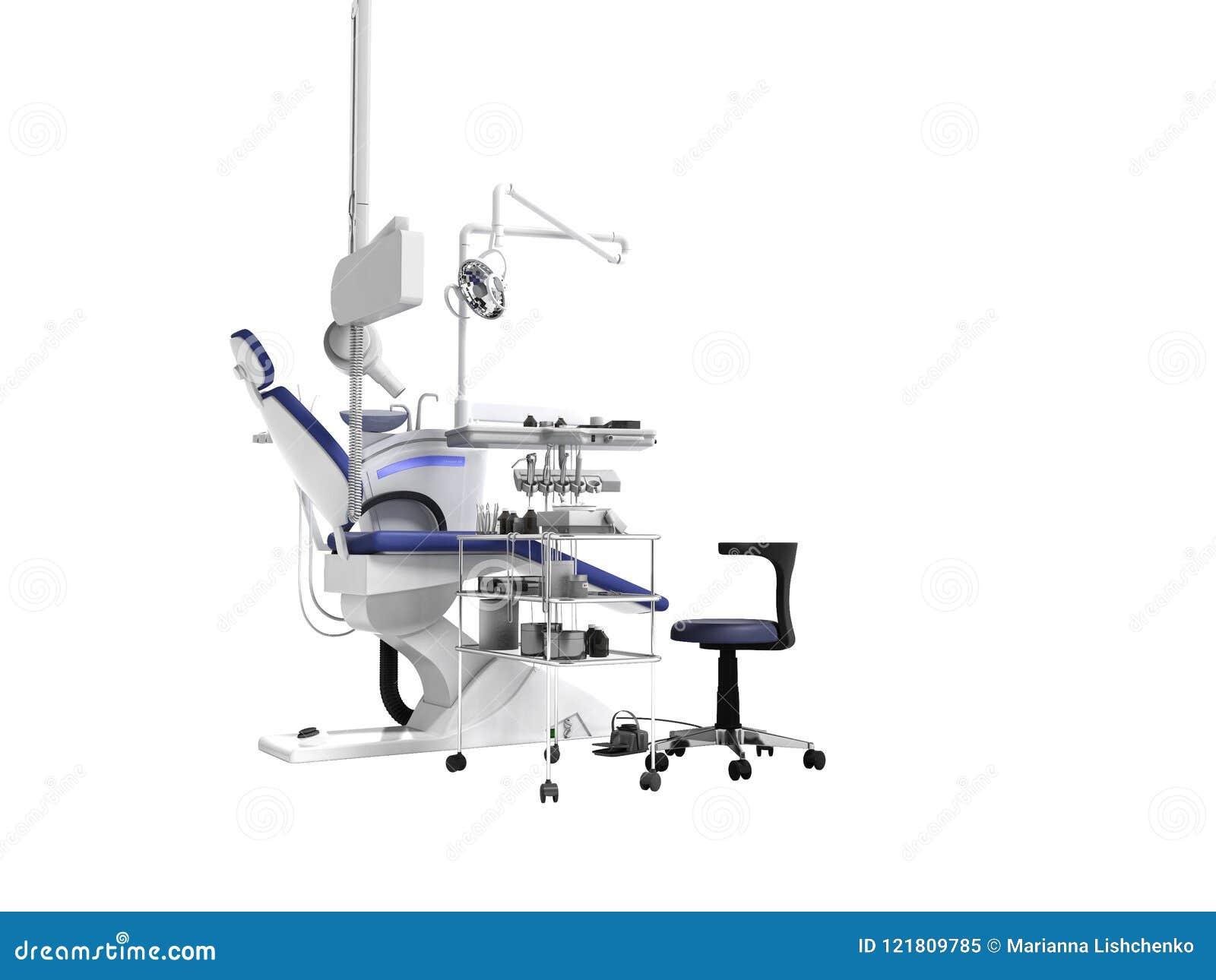 Poltrona blu di concetto moderno ed attrezzatura dentaria per il trea del dente