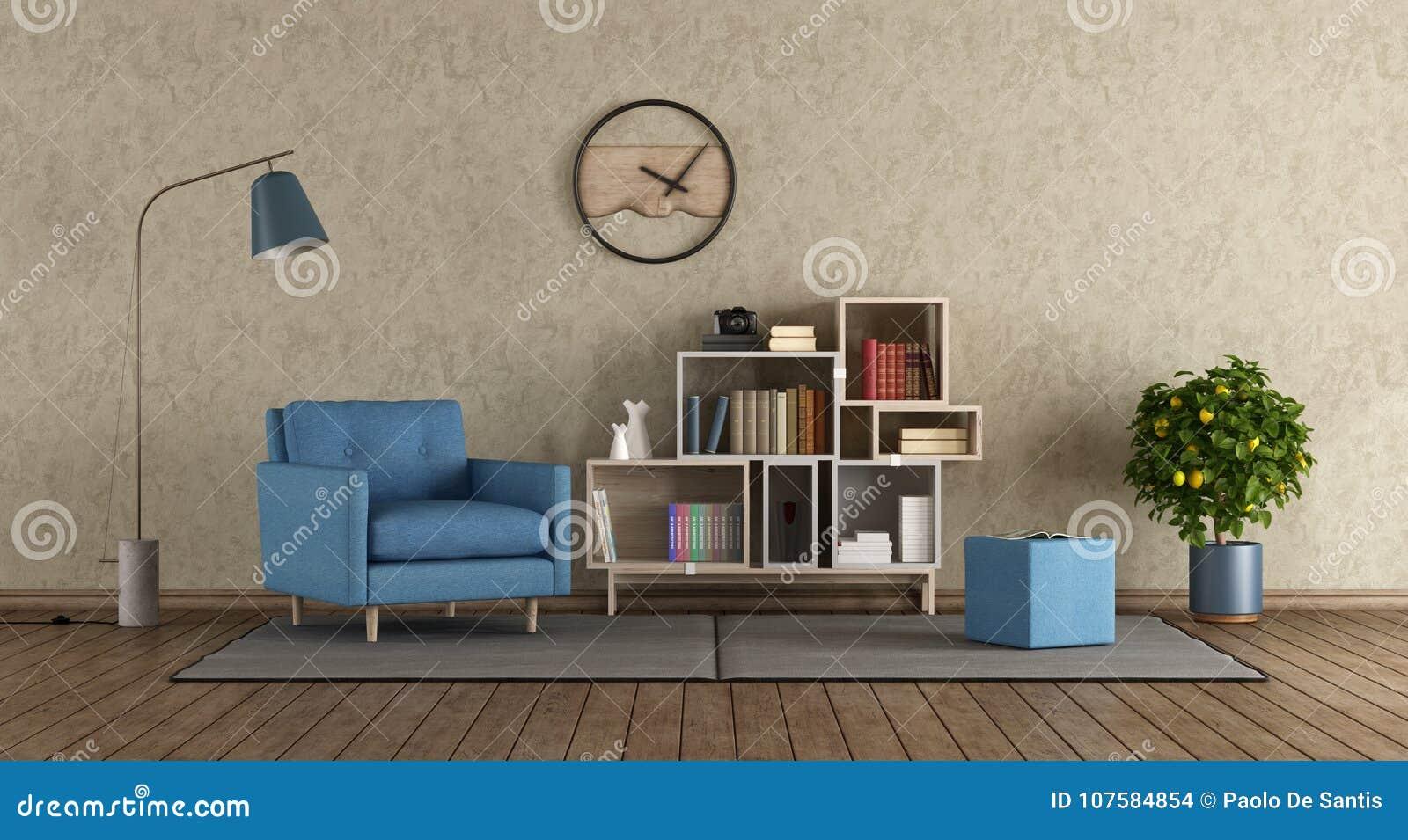 Poltrone Per Salotto Moderne.Poltrona Blu In Salotto Moderno Illustrazione Di Stock