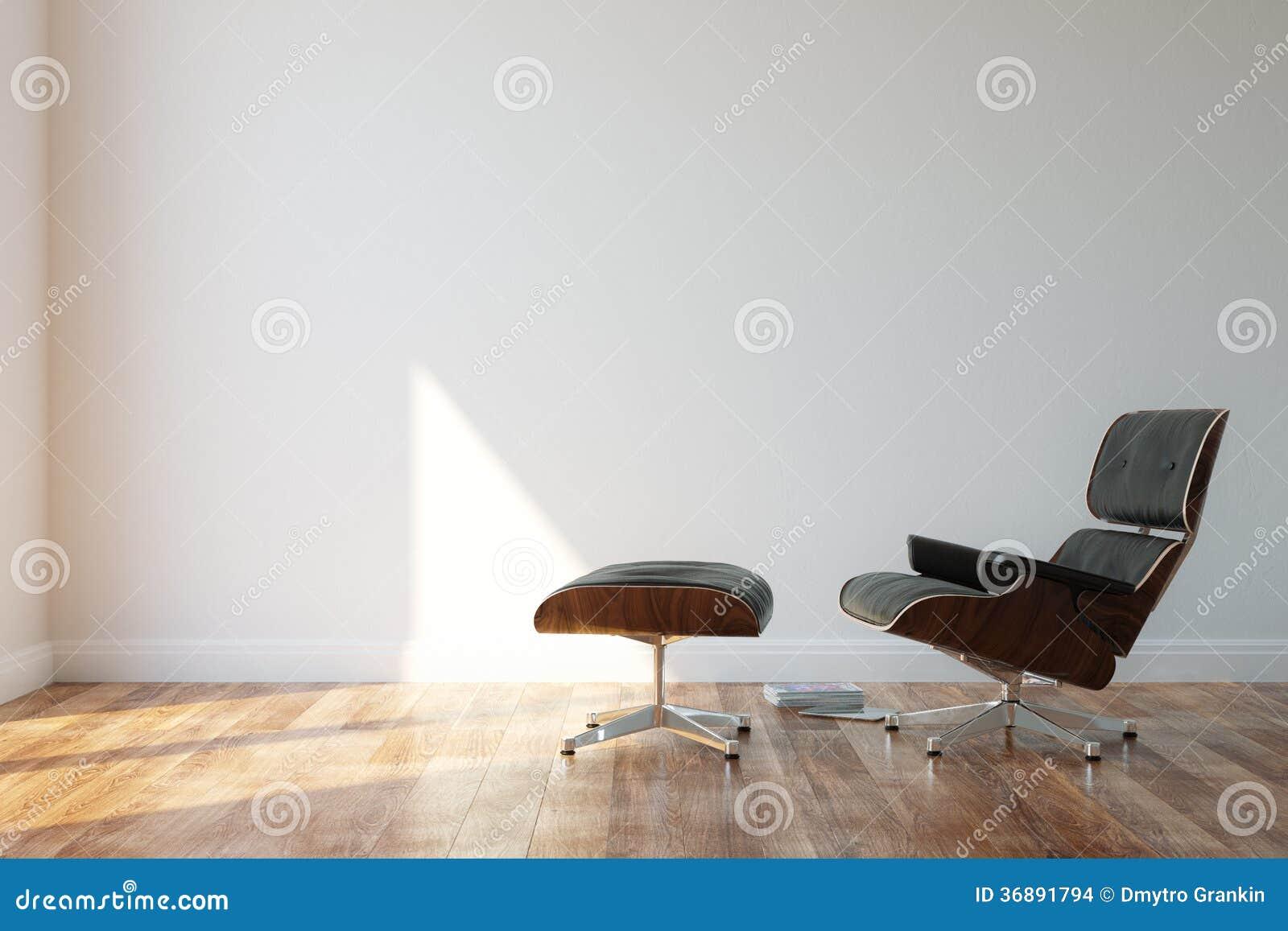 Download Poltrona Di Cuoio Accogliente Nera Nell'interno Minimalista Di Stile Fotografia Stock - Immagine di pavimento, comodo: 36891794