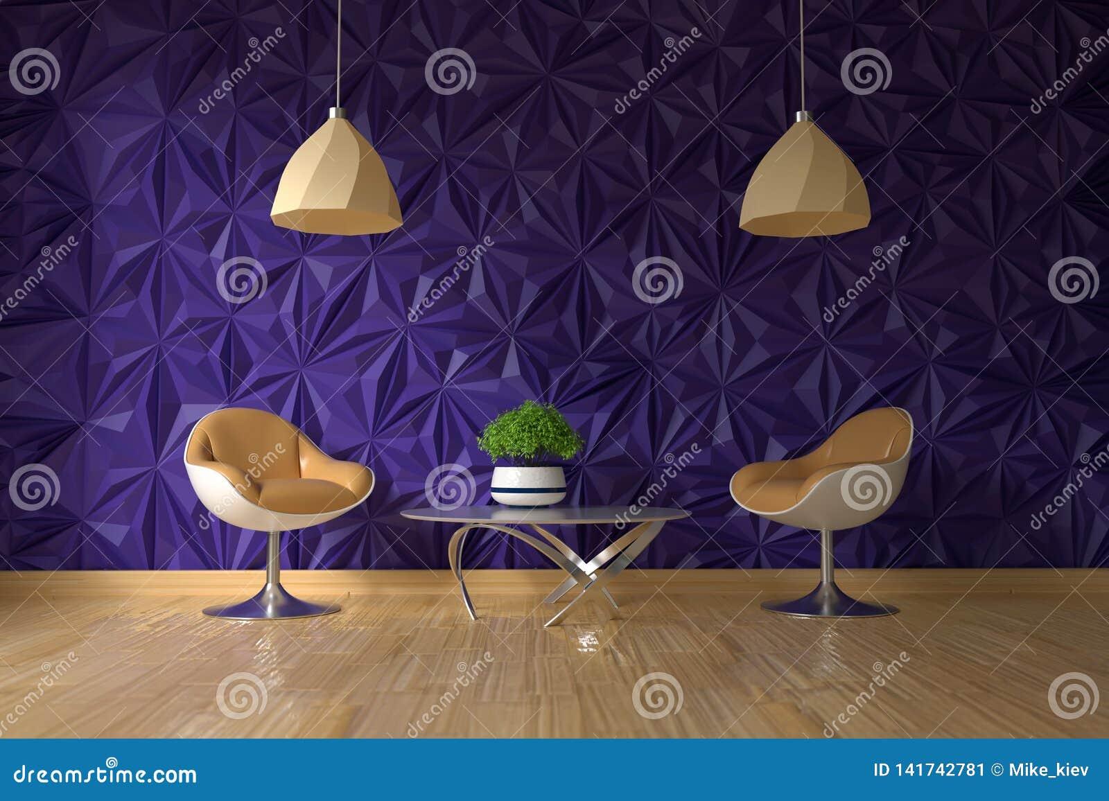 Poltrona dois e tabela de vidro com a planta verde na parede violeta textured vazia no interior da sala de visitas