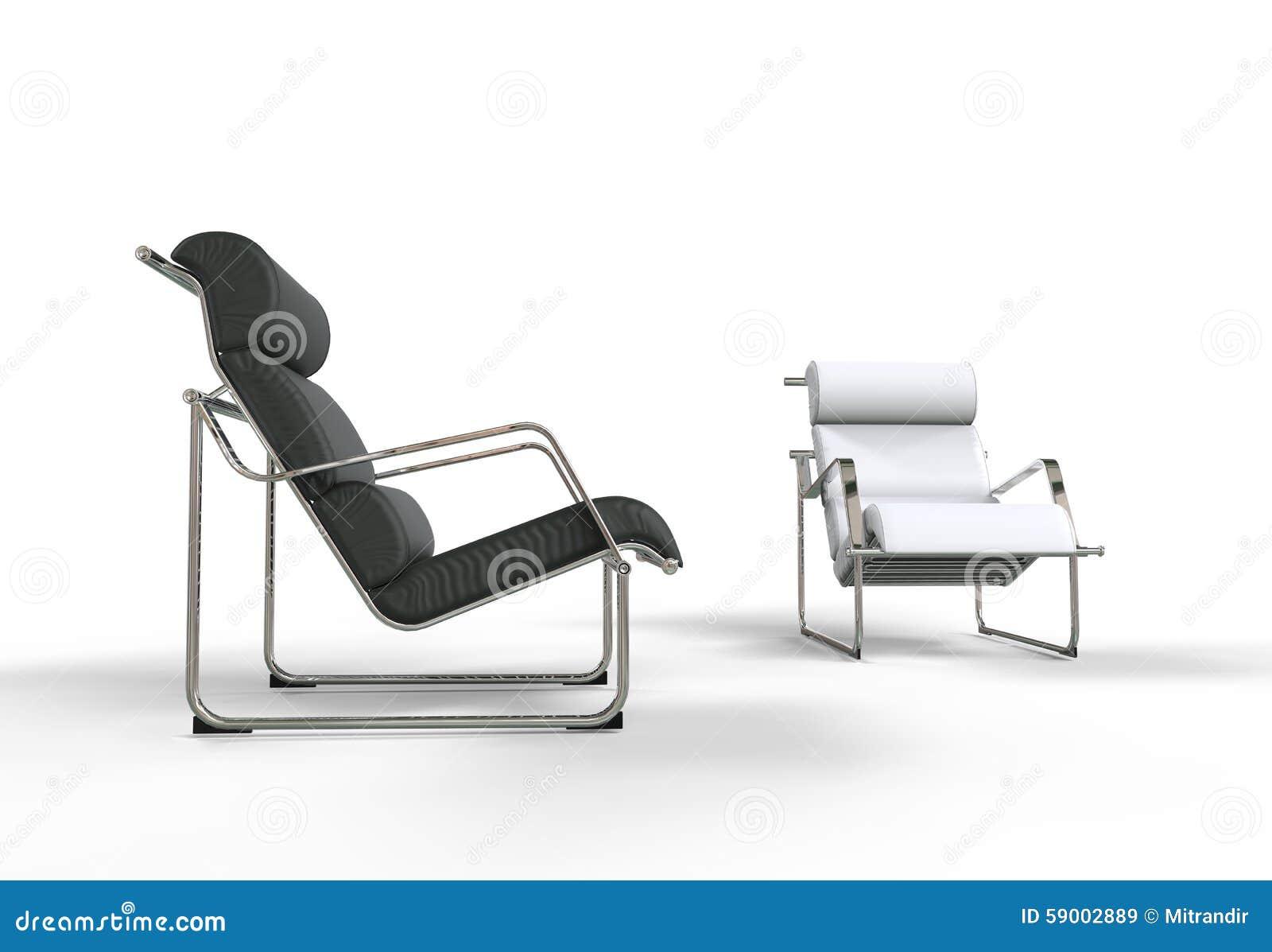 Poltrone Moderne In Bianco E Nero Illustrazione di Stock - Immagine: 59002889