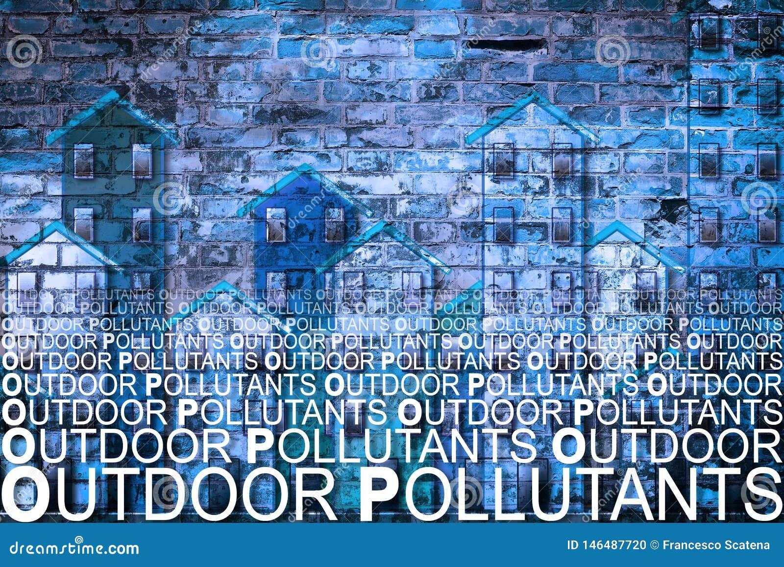 Poluentes de ar exteriores contra um fundo das construções - imagem do conceito com espaço da cópia