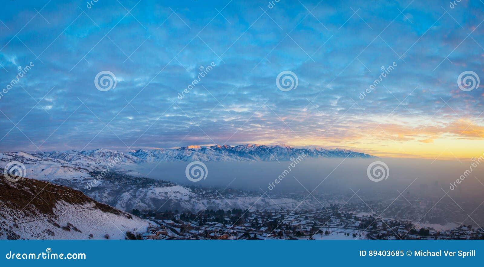 Poluição atmosférica e por do sol de Salt Lake City