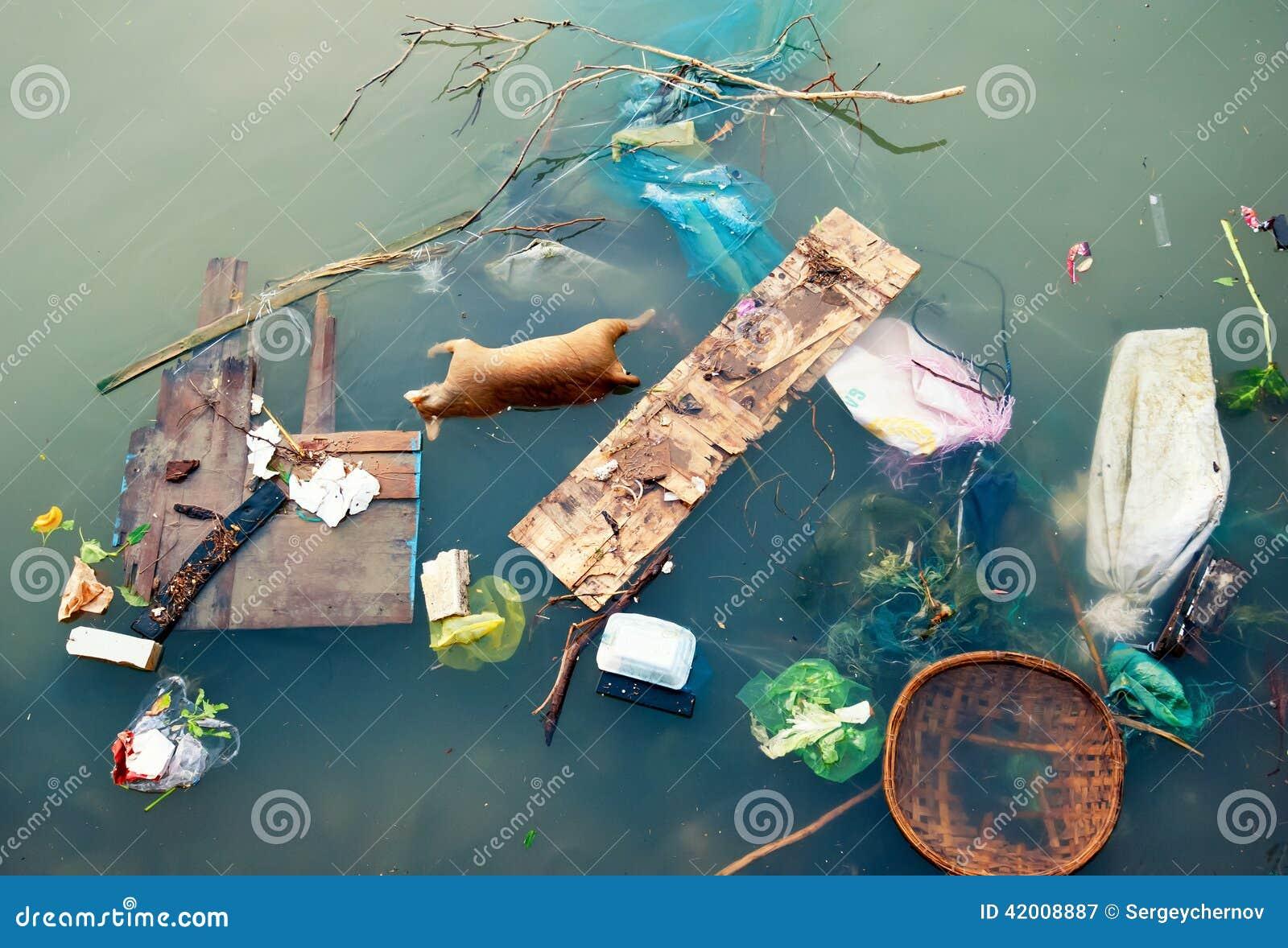 Poluição de água com lixo plástico e desperdício sujo do lixo