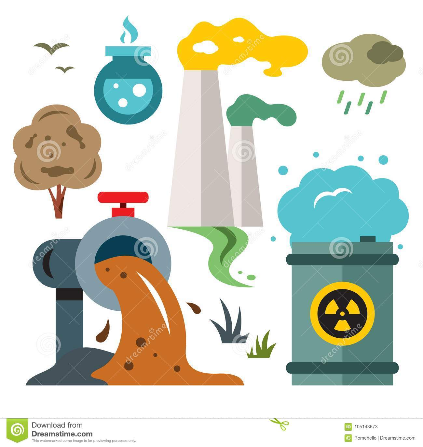 Poluicao Do Ambiente Ecologia Ilustracao Colorida Dos Desenhos