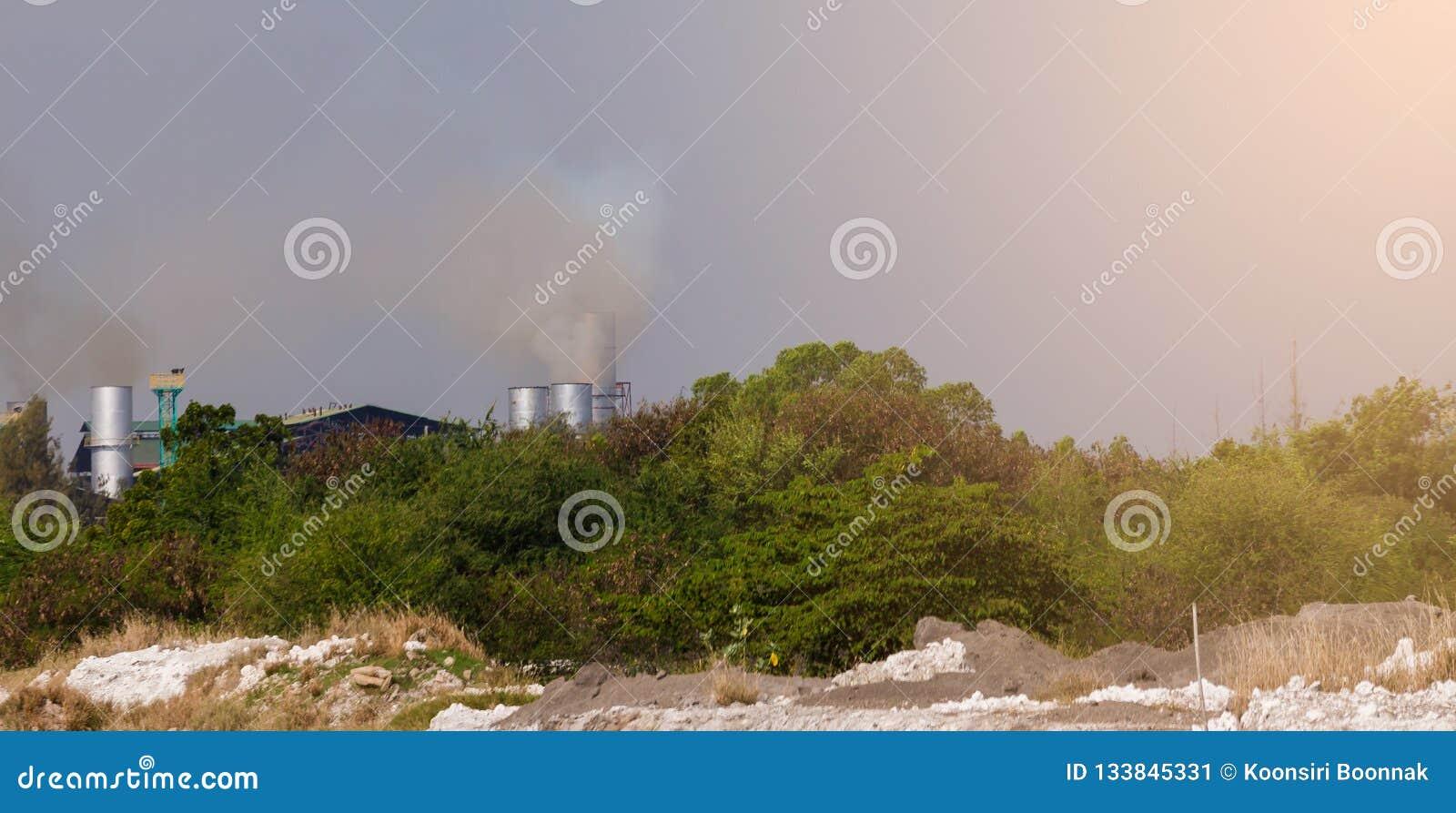 Poluição do ar atmosférica de industrial com árvore verde