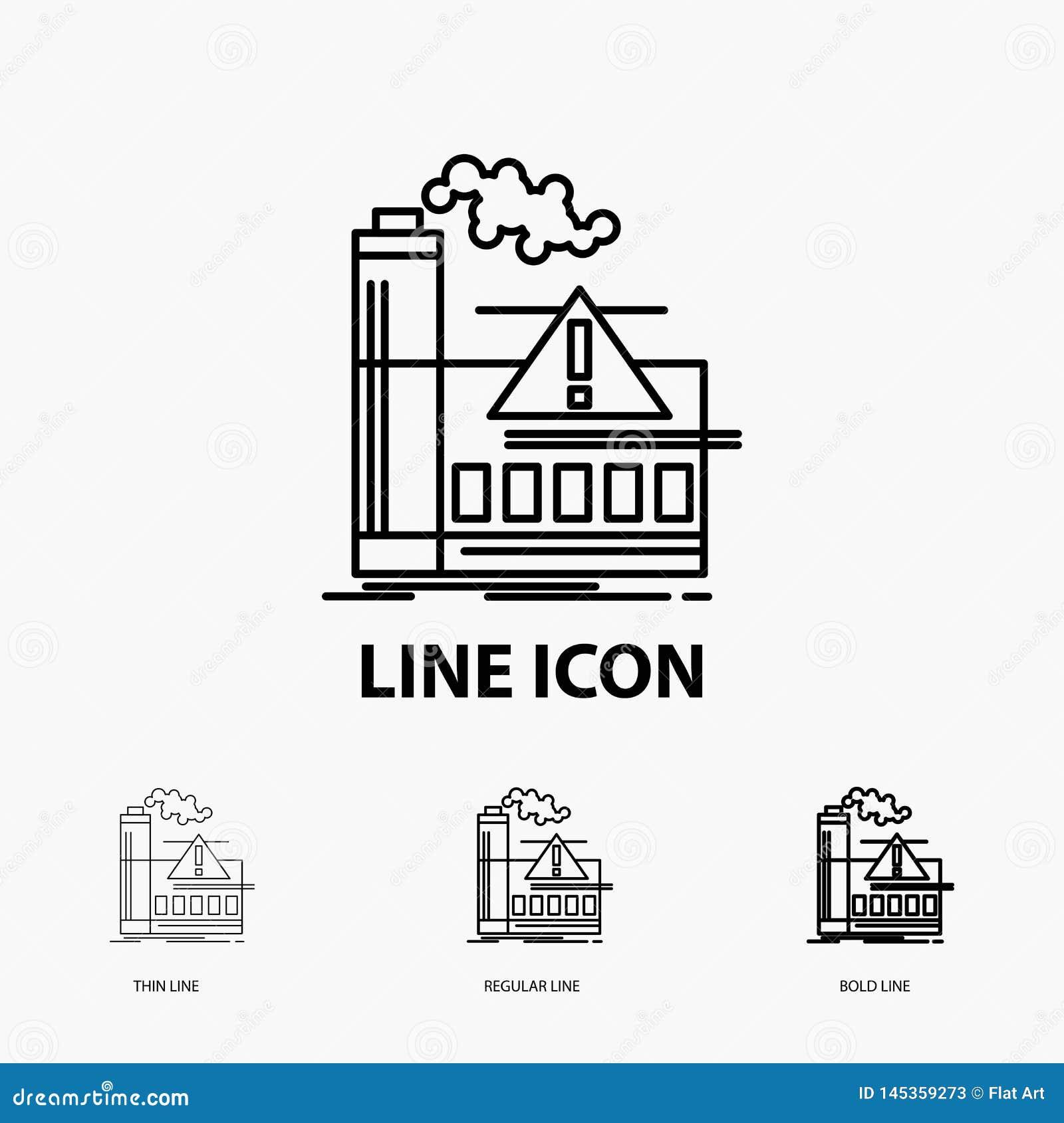 Poluição, fábrica, ar, alerta, ícone da indústria na linha estilo fina, regular e corajosa Ilustra??o do vetor