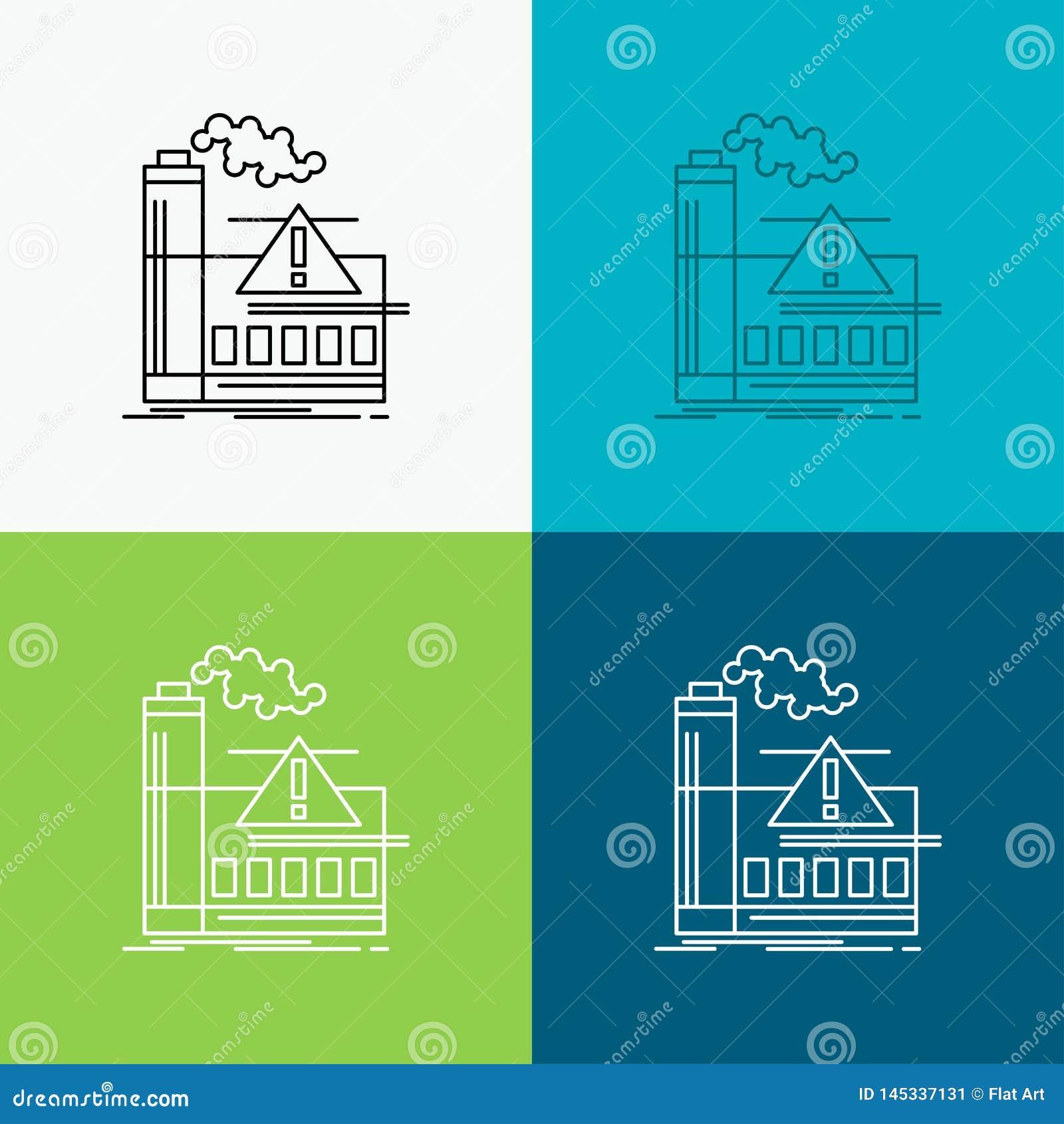 Poluição, fábrica, ar, alerta, ícone da indústria sobre o vário fundo Linha projeto do estilo, projetado para a Web e o app Vetor